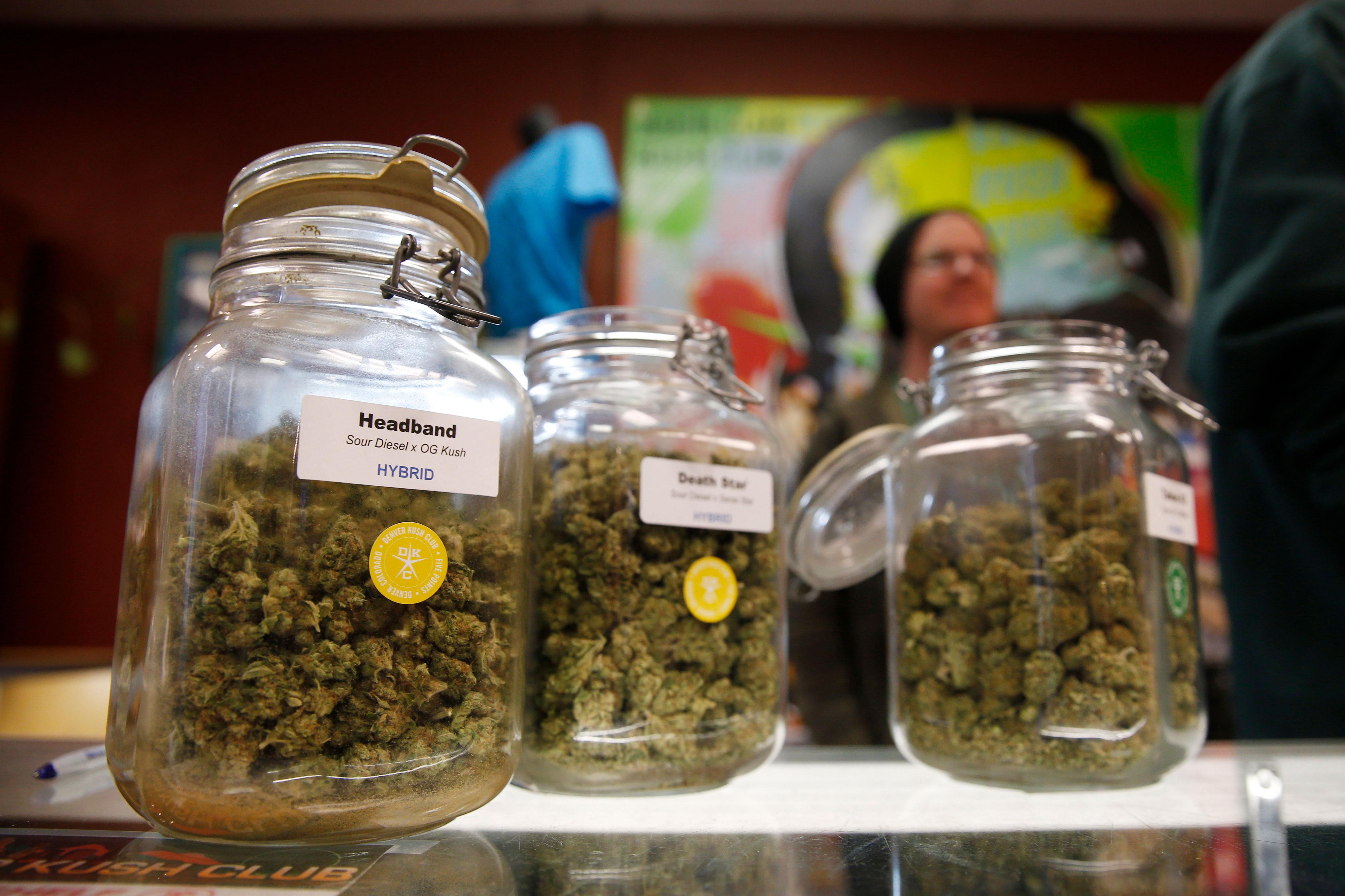 Photo: Marijuana Retail | Denver Kush Club Jars - AP