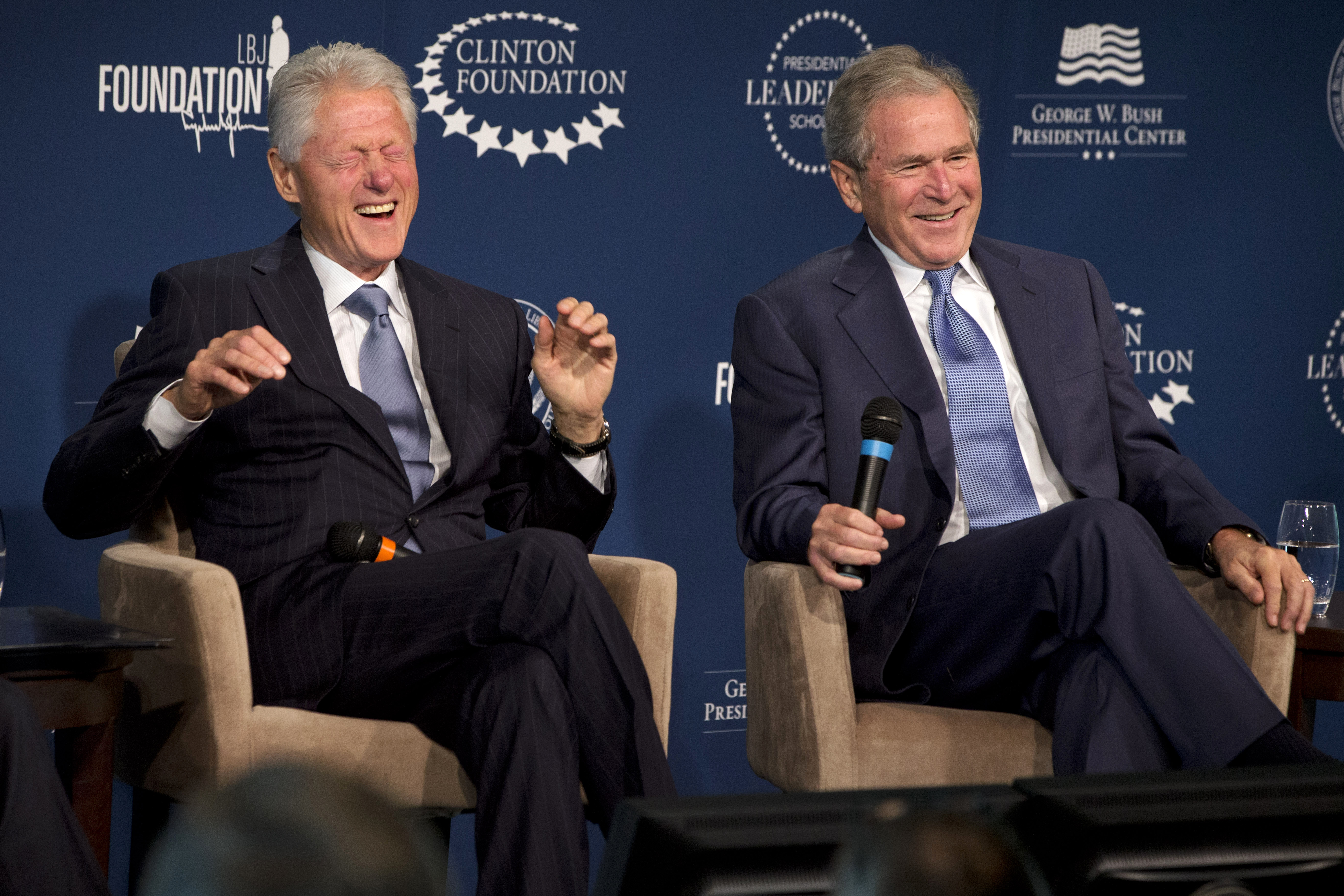 Photo: Bill Clinton and George W. Bush Laughing (AP File)