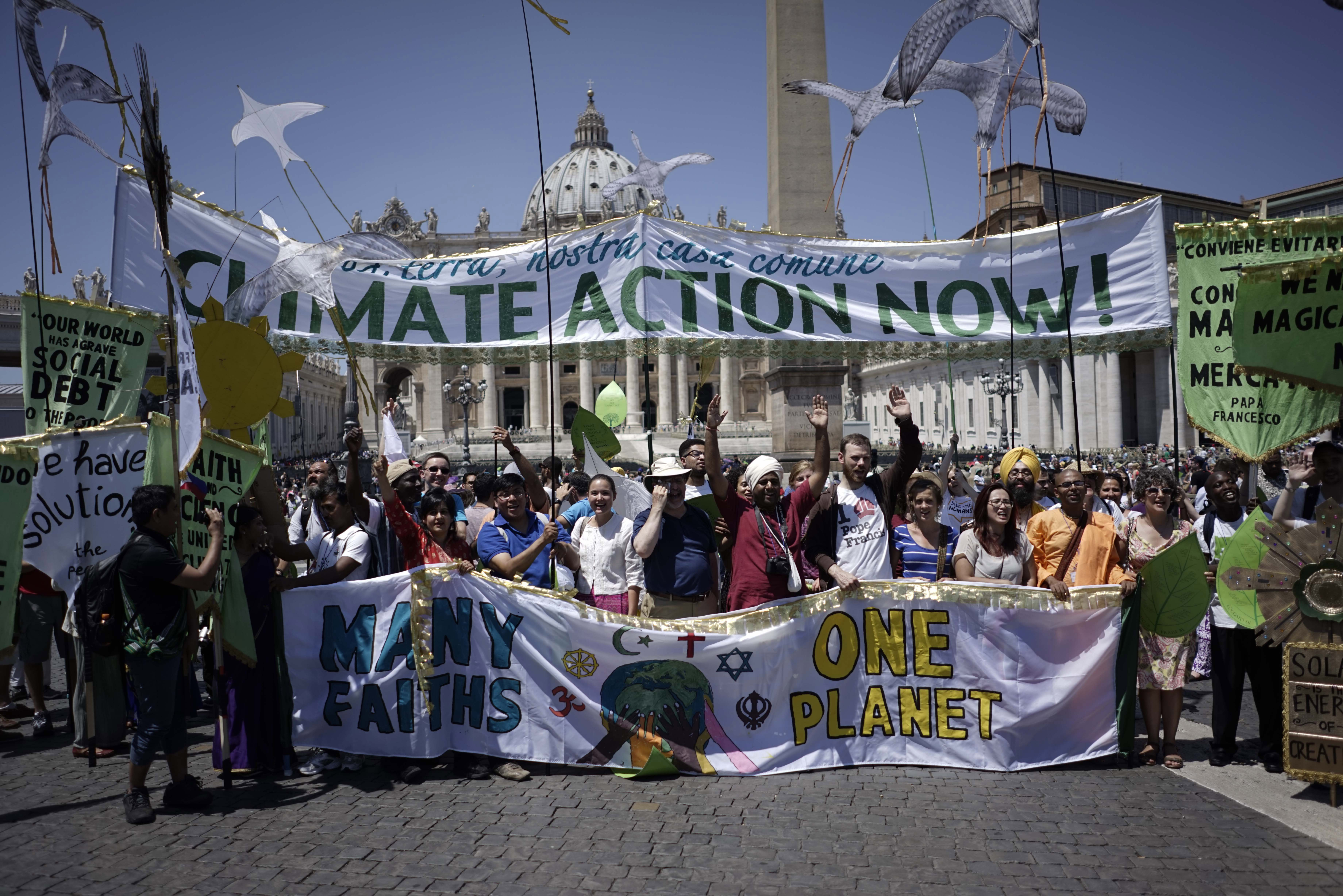 Photo: Climate Change rally at Vatican (AP Photo)