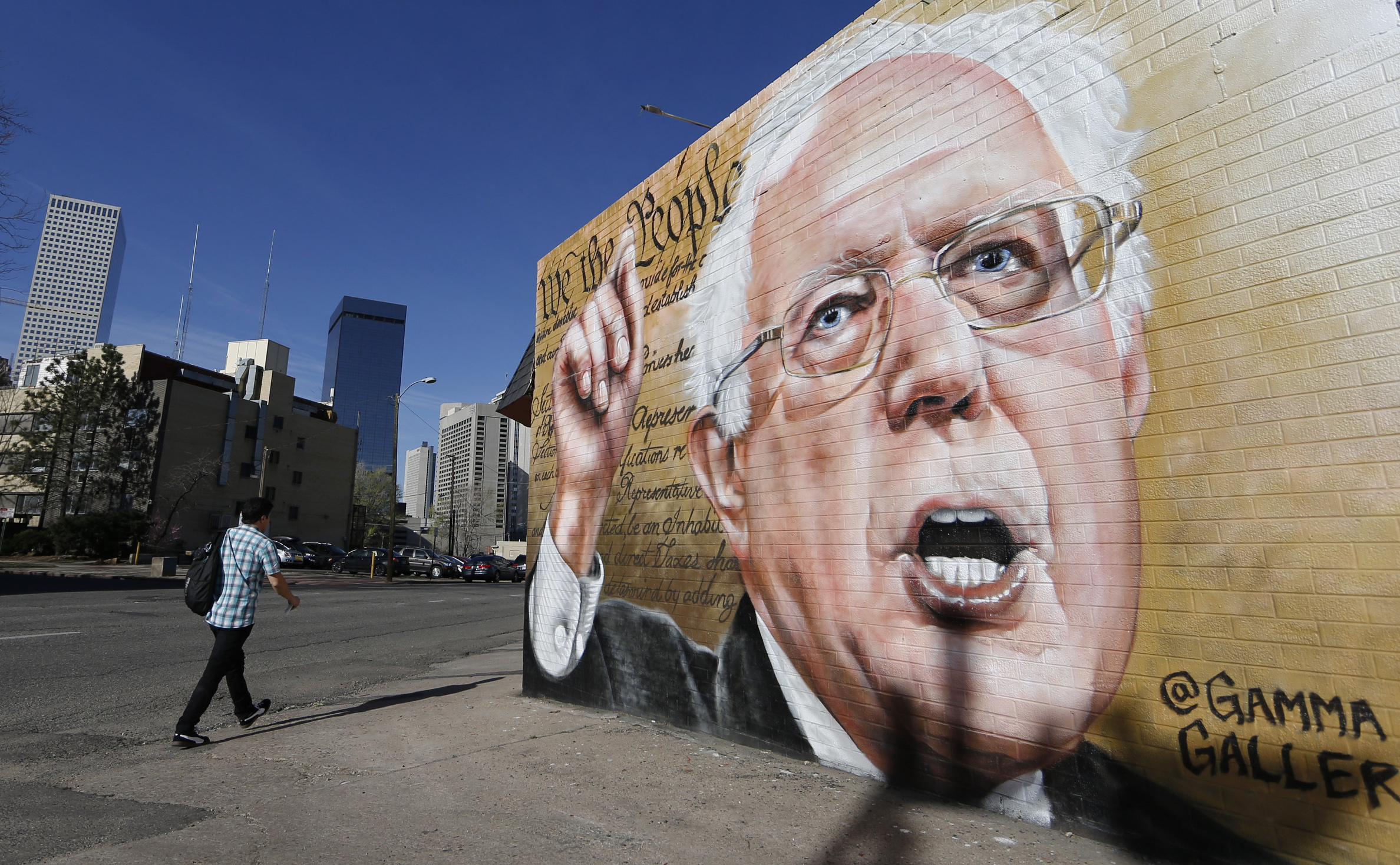 Photo: Bernie Sanders mural in Denver (AP Photo)