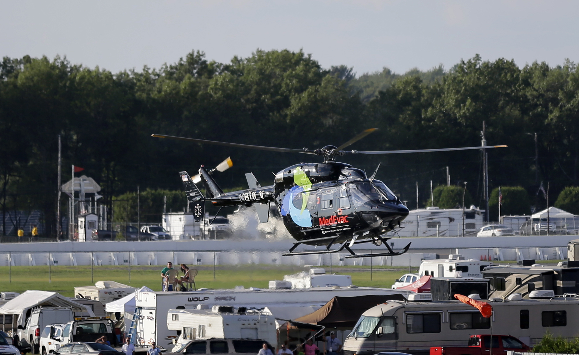 Photo: Justin Wilson, IndyCar driver, being airlifted Aug. 23, 2015