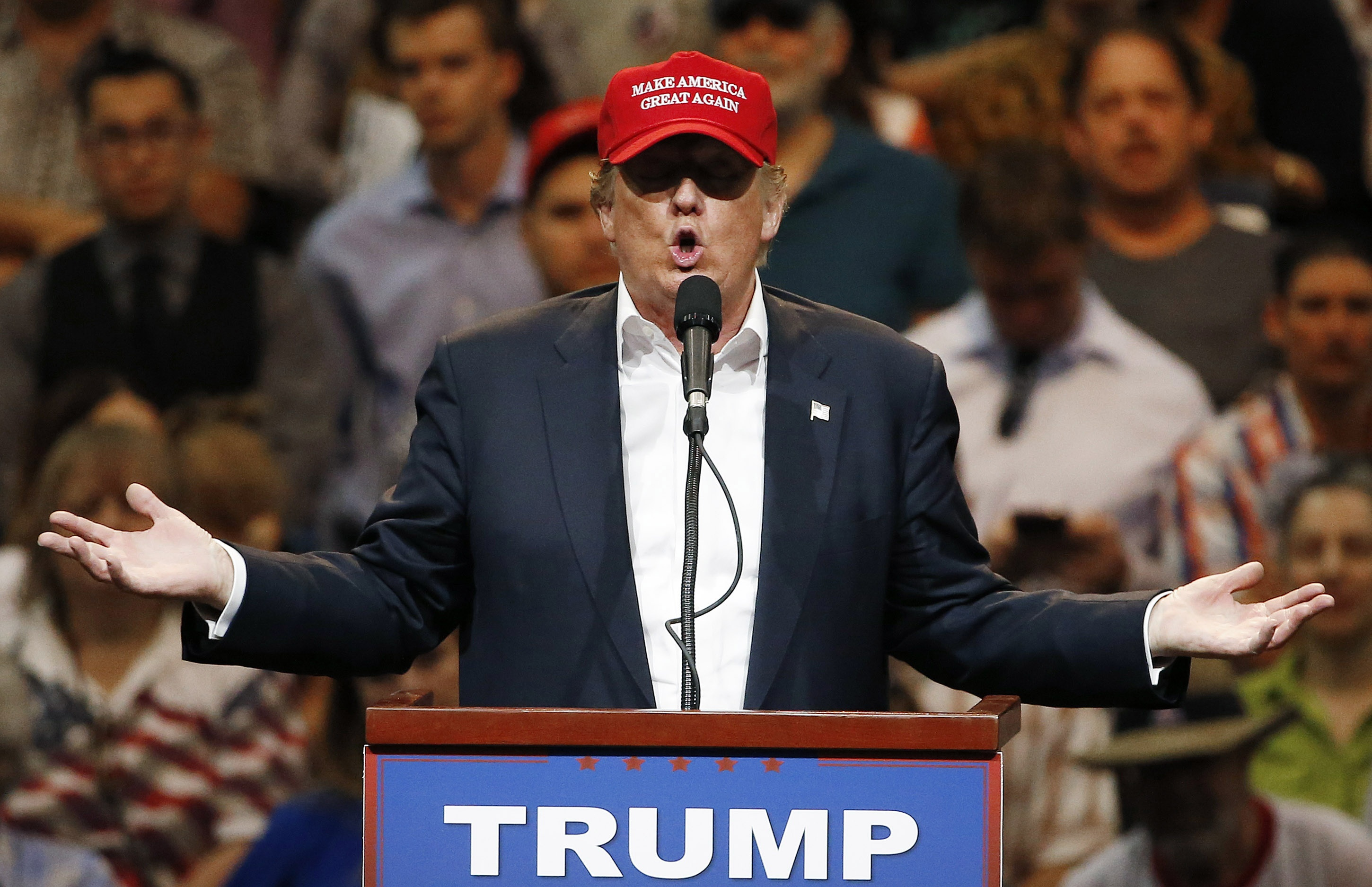 Photo: Republican presidential candidate Donald Trump in Arizona March 2016 (AP Photo)