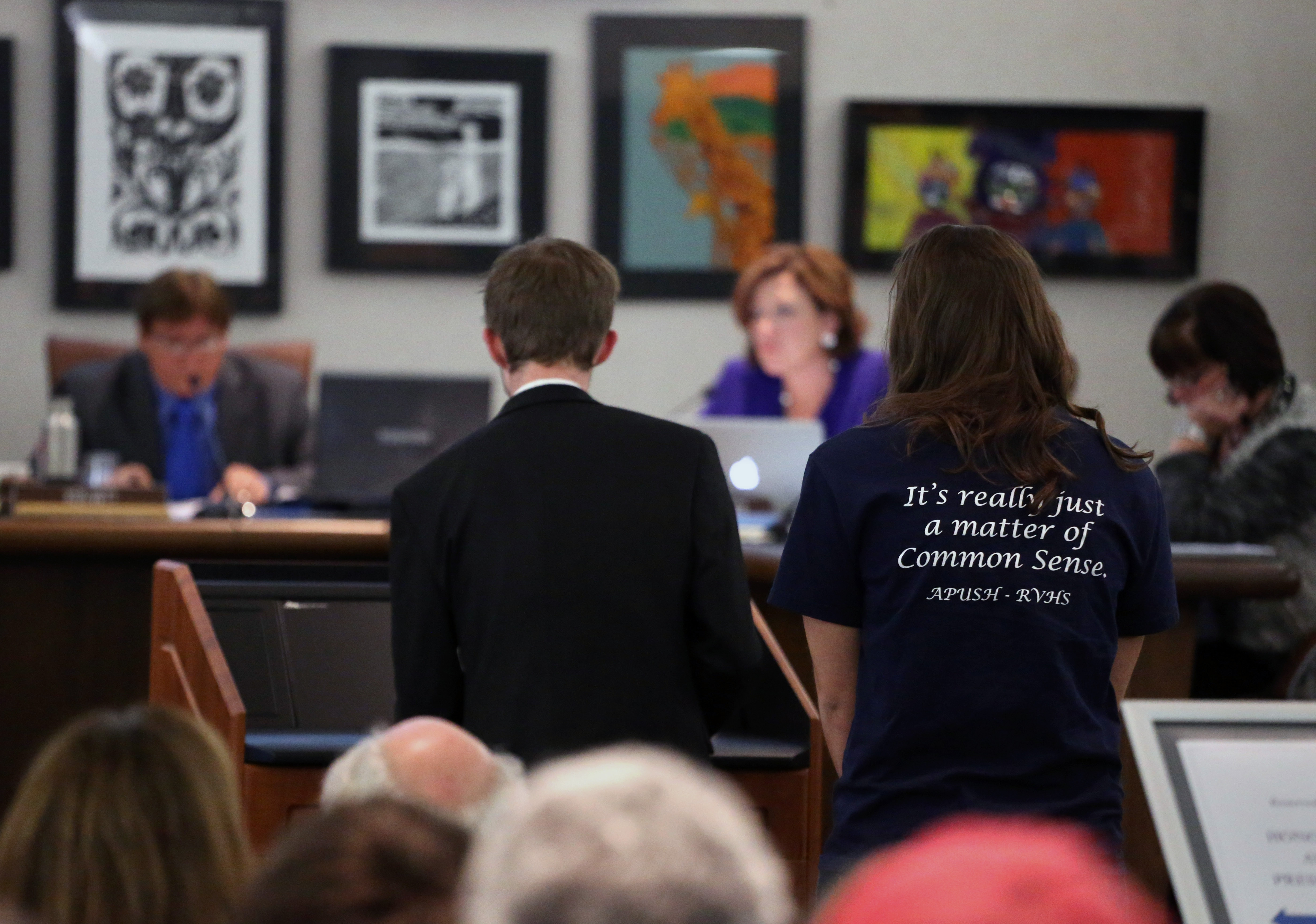 Photo: Students testify at JeffCo school board meeting (AP Photo)