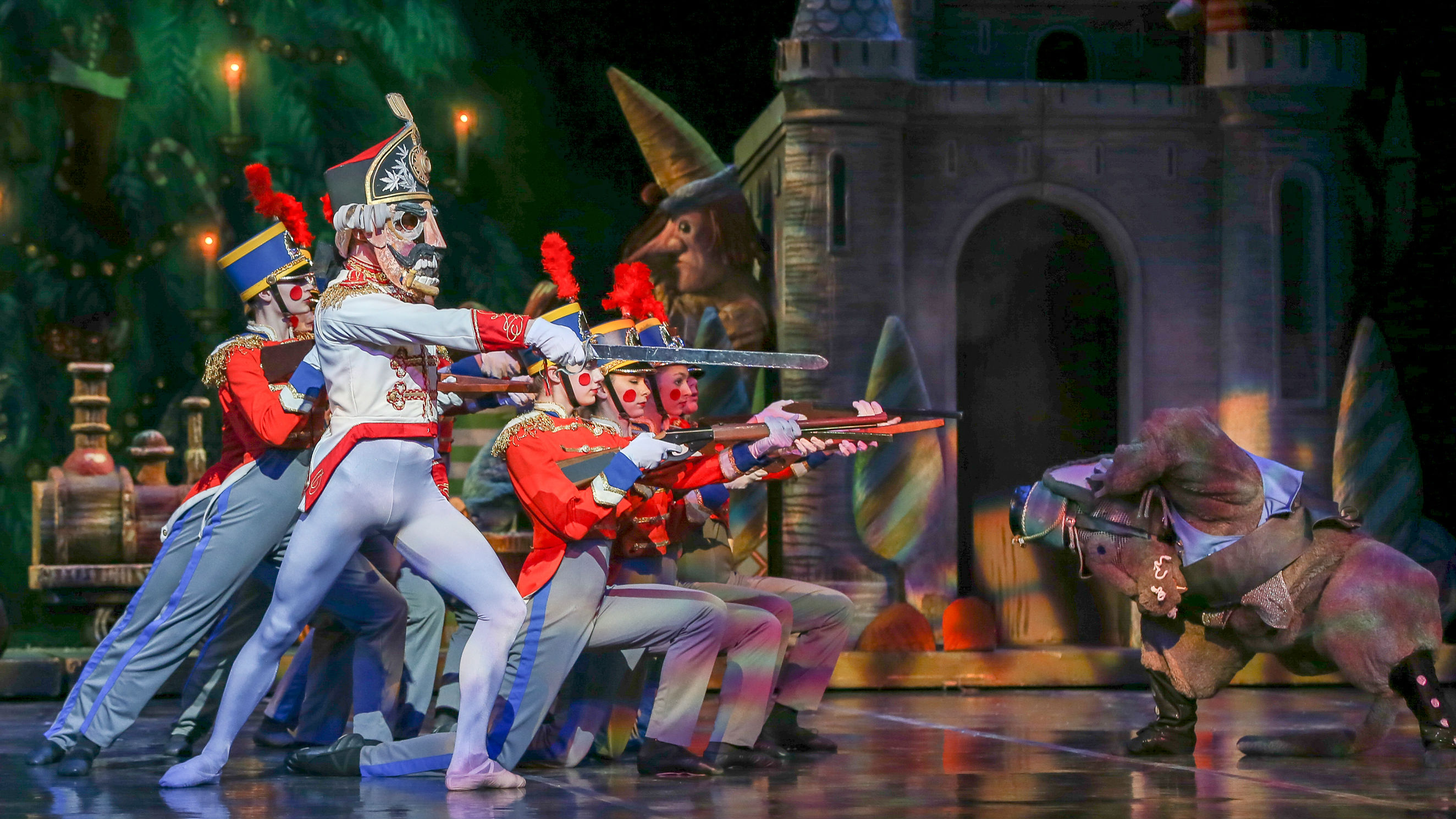 "<p>Artists of the Colorado Ballet in the Battle Scene from ""The Nutcracker.""</p>"