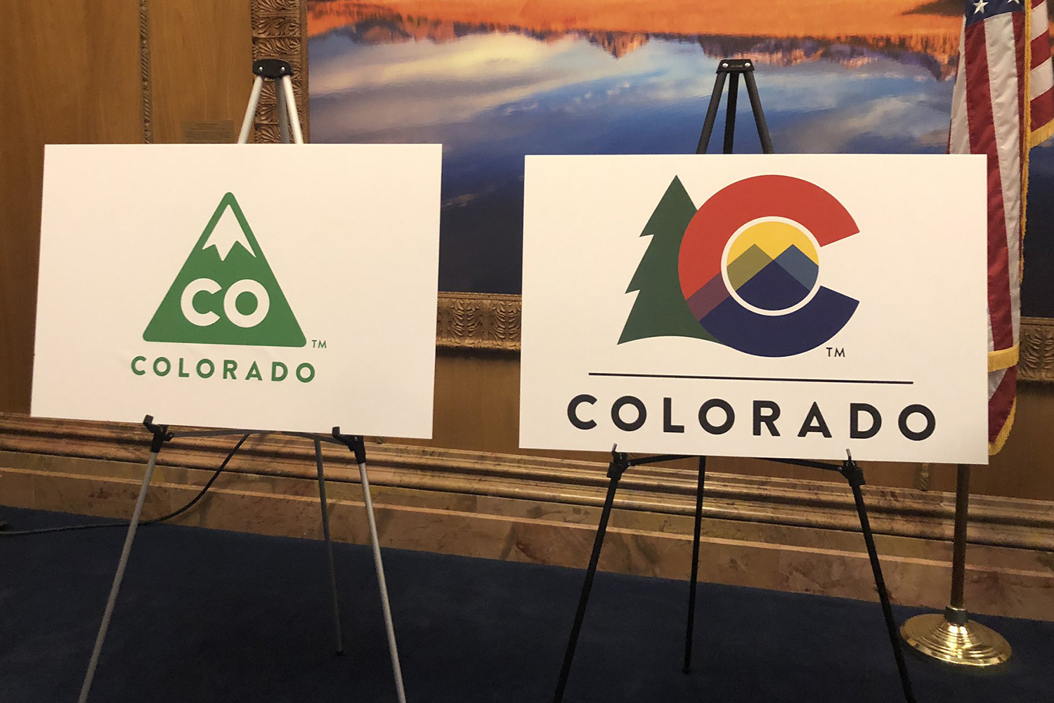 <p>Gov. Jared Polis announced the creation of a new Colorado state logo with colors and themes drawn from the state flag — and a tree — at the state Capitol in Denver, March 26, 2019.</p>