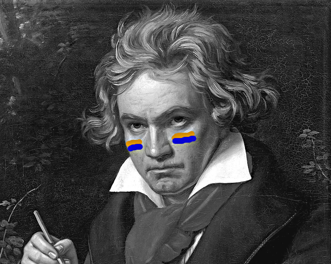 Photo: Beethoven in Broncos face paint