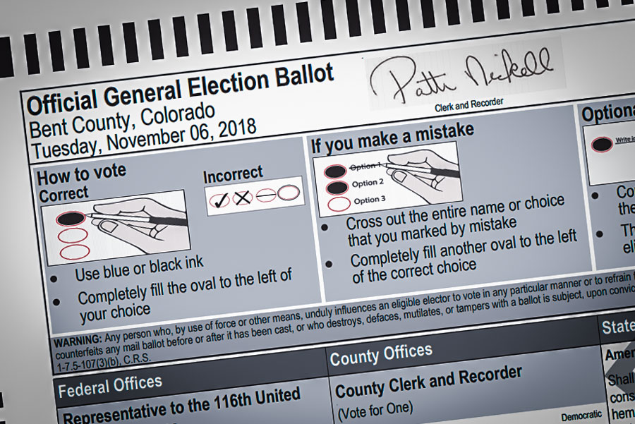 Photo: Bent County Sample Ballot 2018 - Courtesy