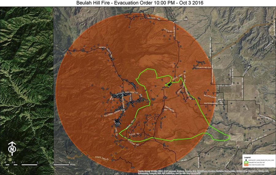 Chart: Map Of Beulah Hill Fire Evacs 10p-10-3-2016