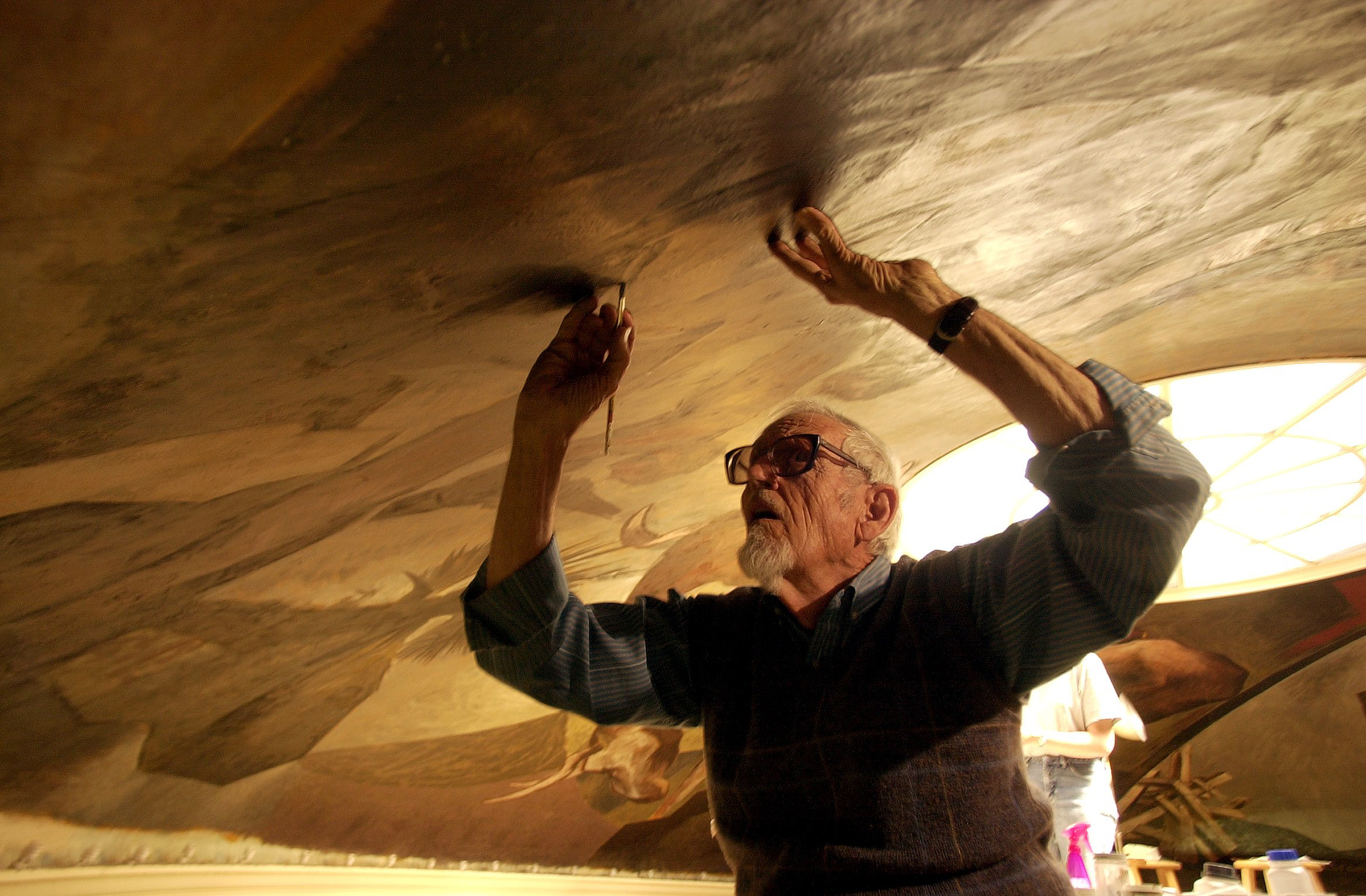 Photo: Bransby restores Colorado College mural