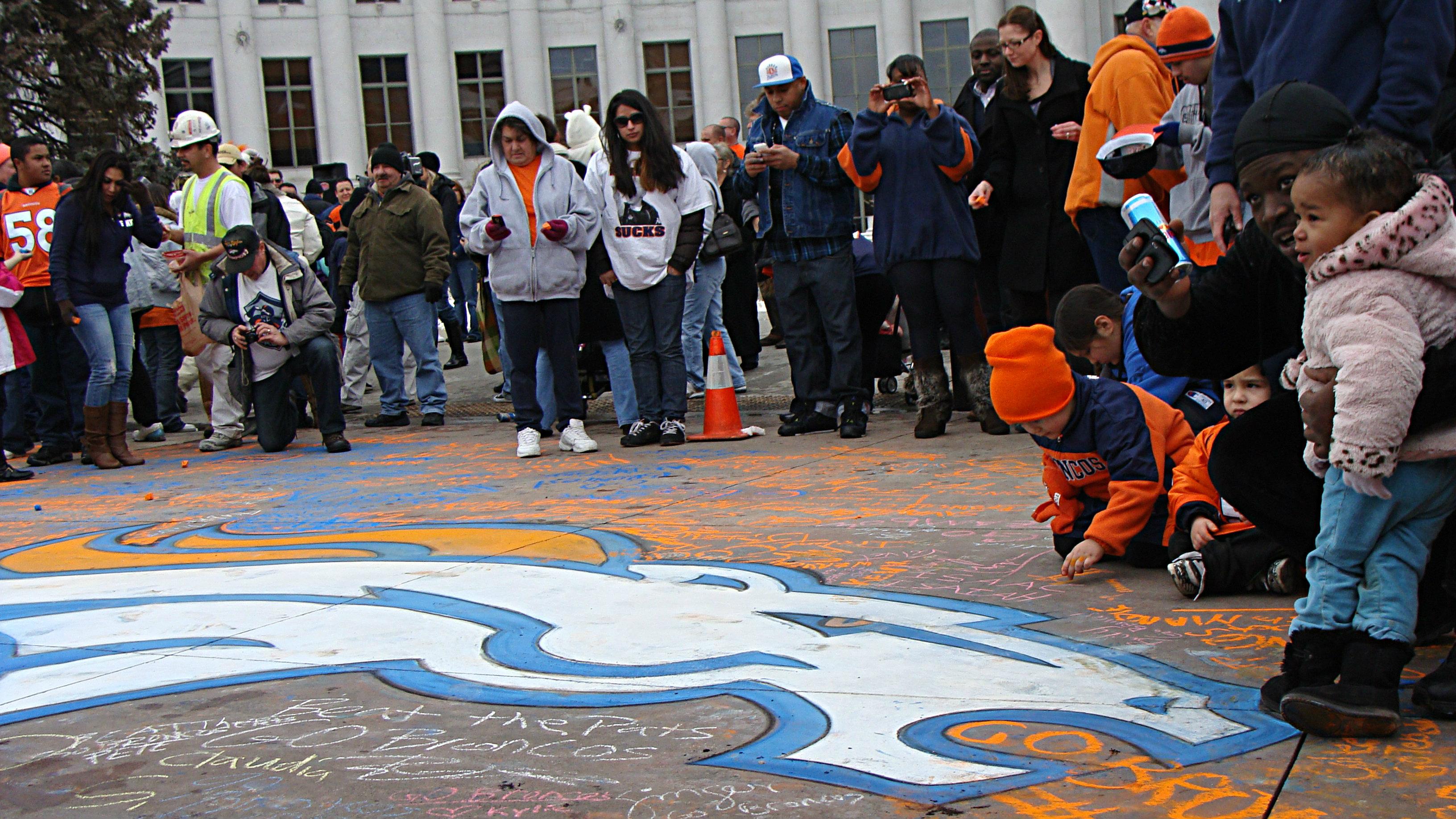 Photo: Broncos Chalk Logo