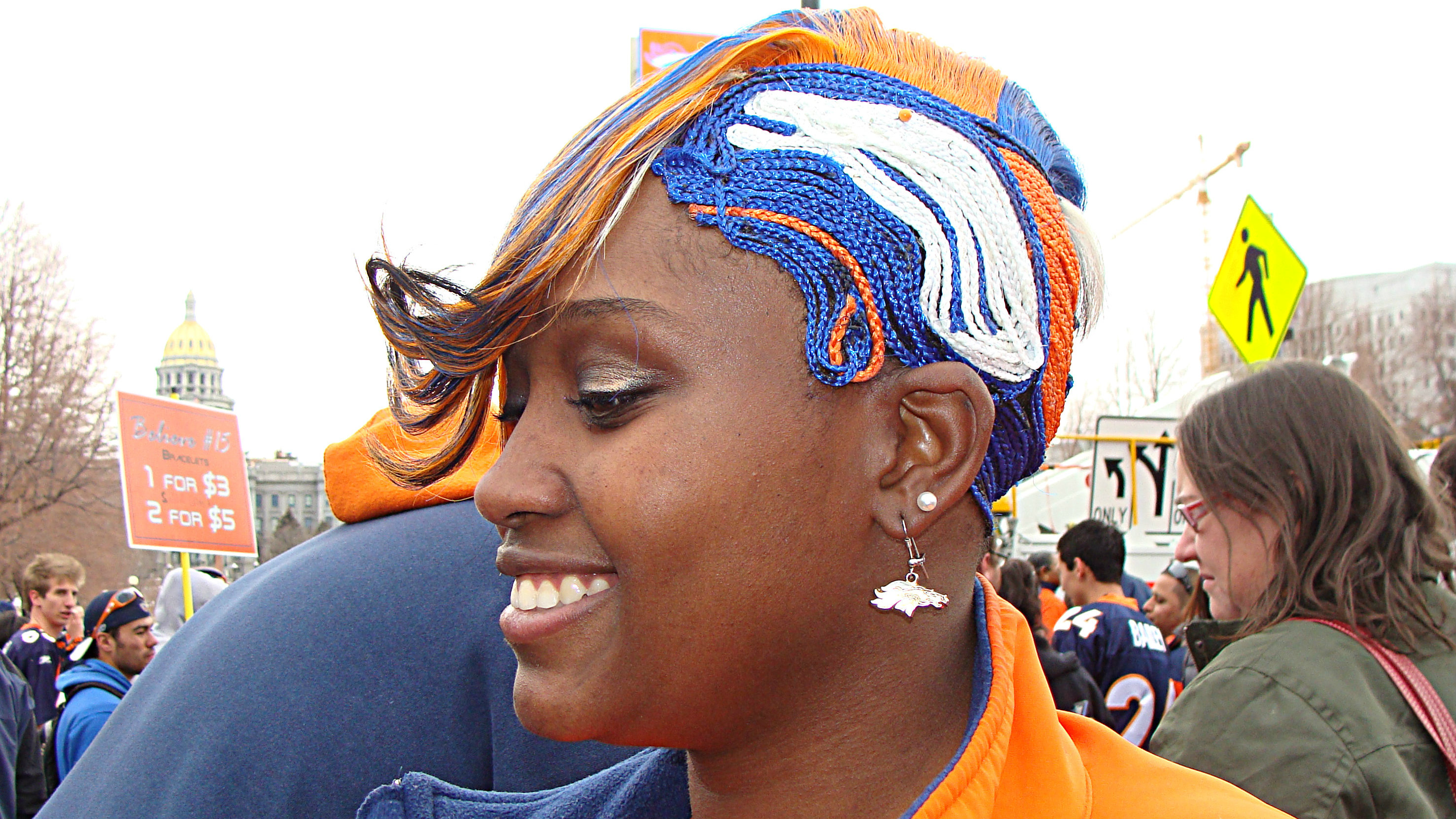 Photo: Broncos fan hairstyle
