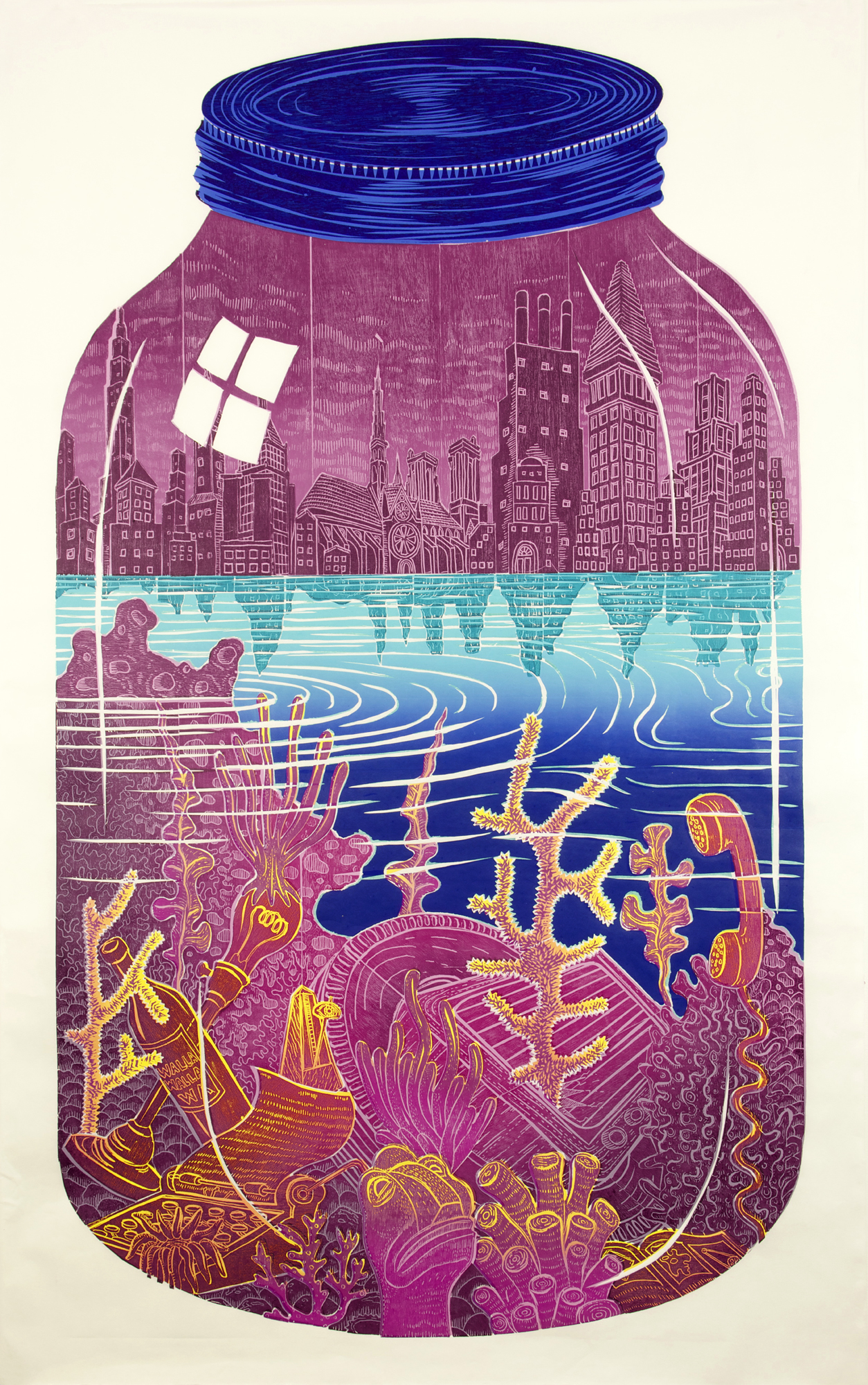 Photo: 'The Reef' woodblock print by John Buck