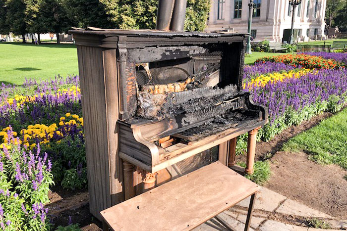 Photo: Civic Center Park Art | Burned Piano - Courtesy