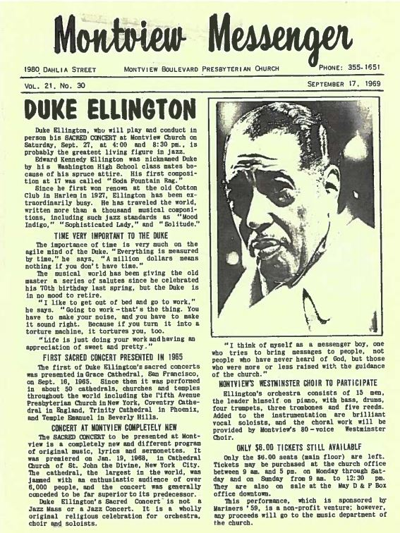 Photo: Montview Messenger Duke Ellington flyer