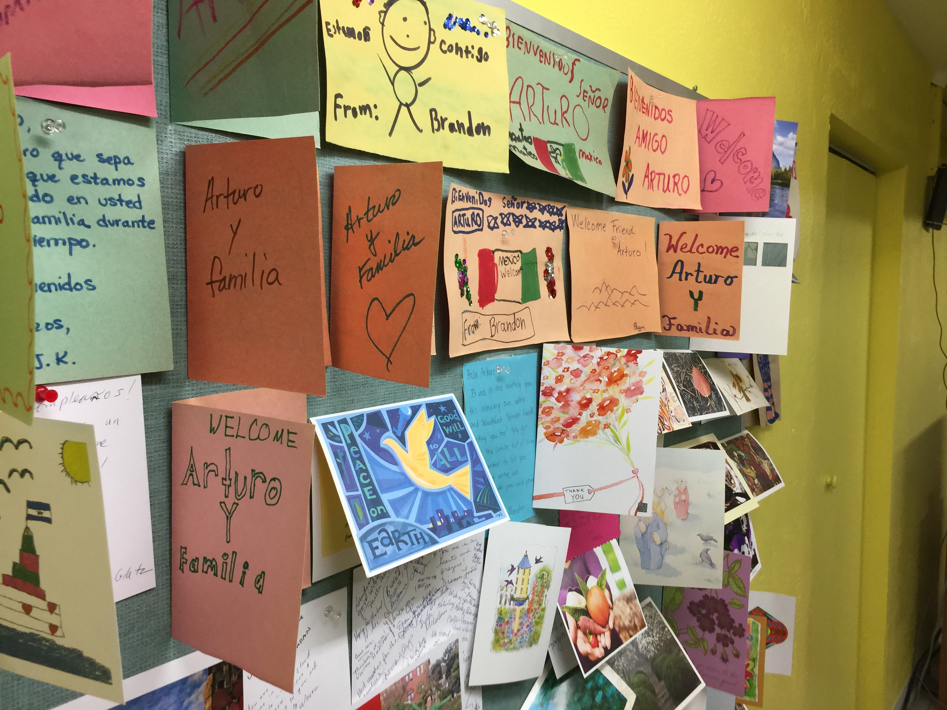 Photo: Cards on wall for Arturo Sanctuary feature
