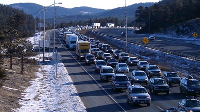 Photo: Interstate 70 winter traffic