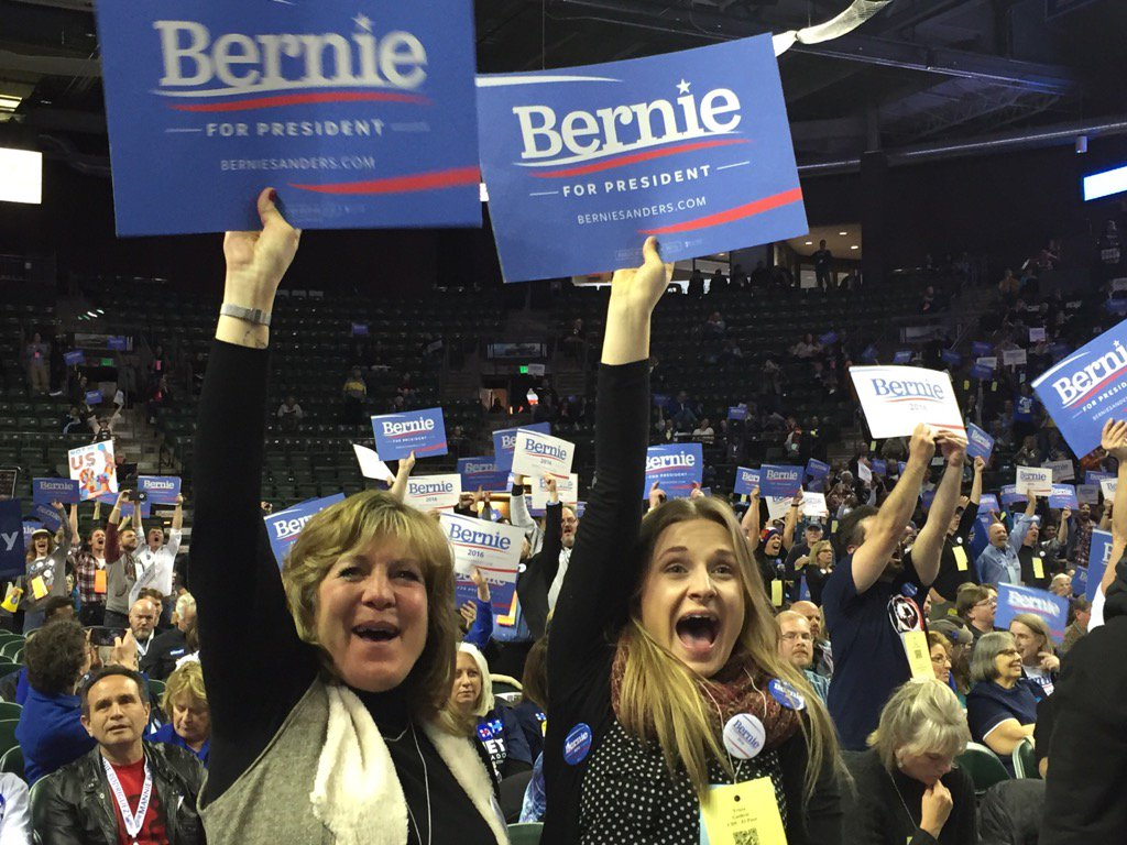 Photo: Bernie Sanders supporters at Colorado Dem convention April 2016 (Staff)