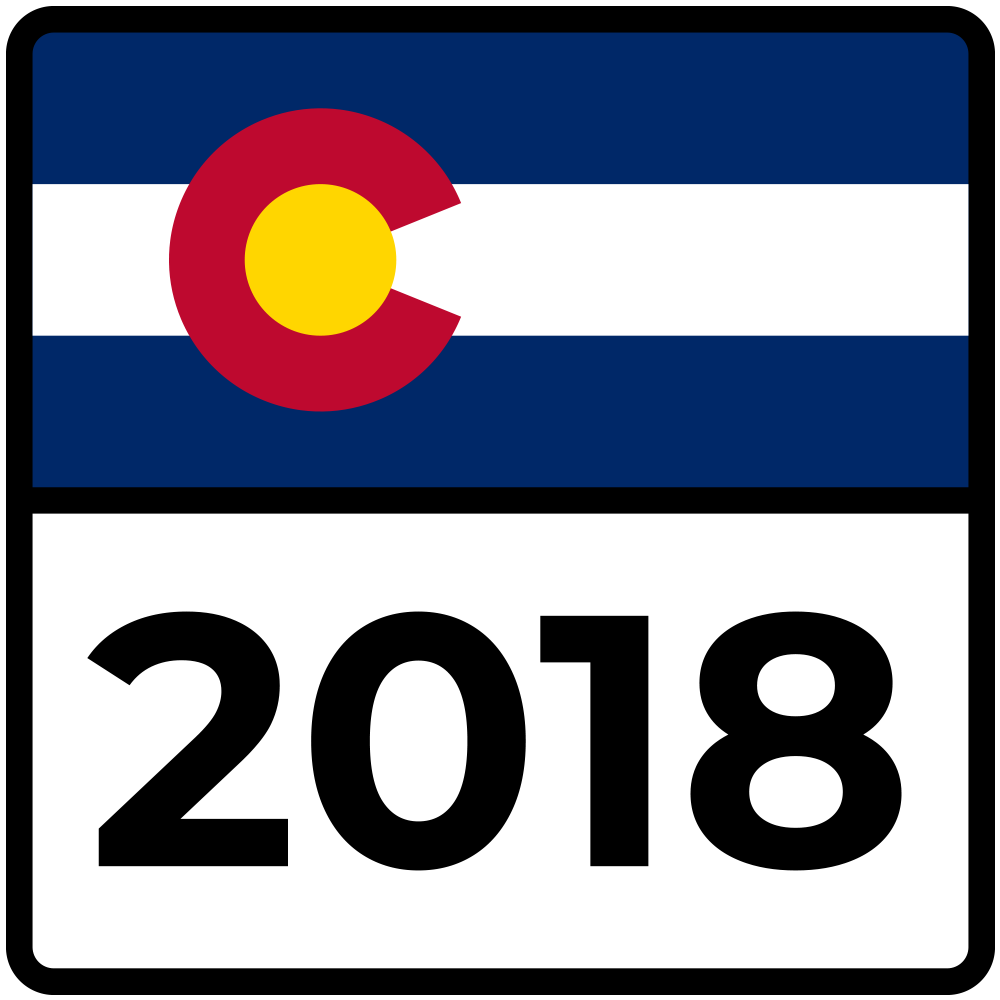 Graphic: Election Road Trip 2018 | Colorado Highway Logo - JHill