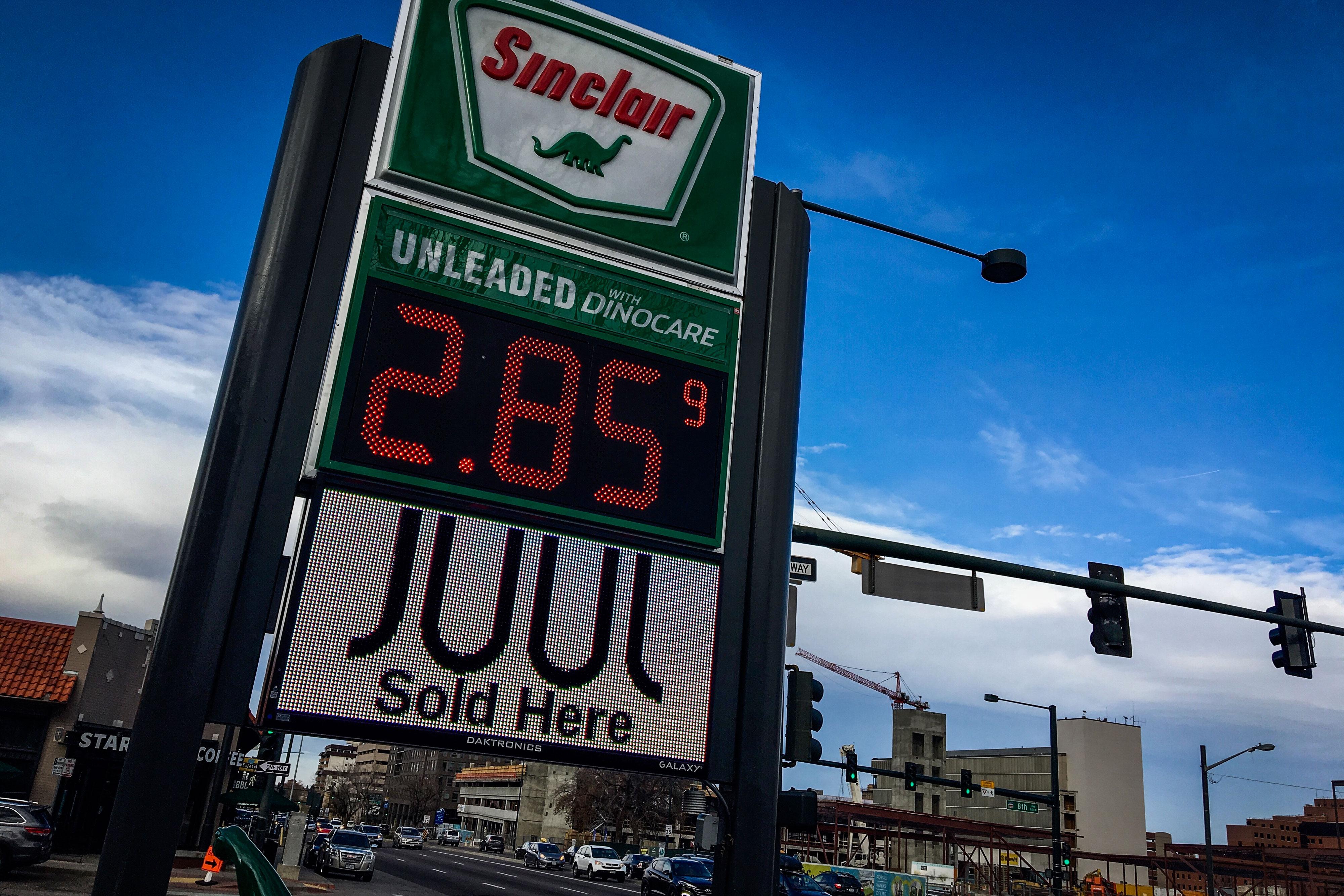 Photo: Vaping Juul Advertisement Convenience Store Colorado Boulevard Denver