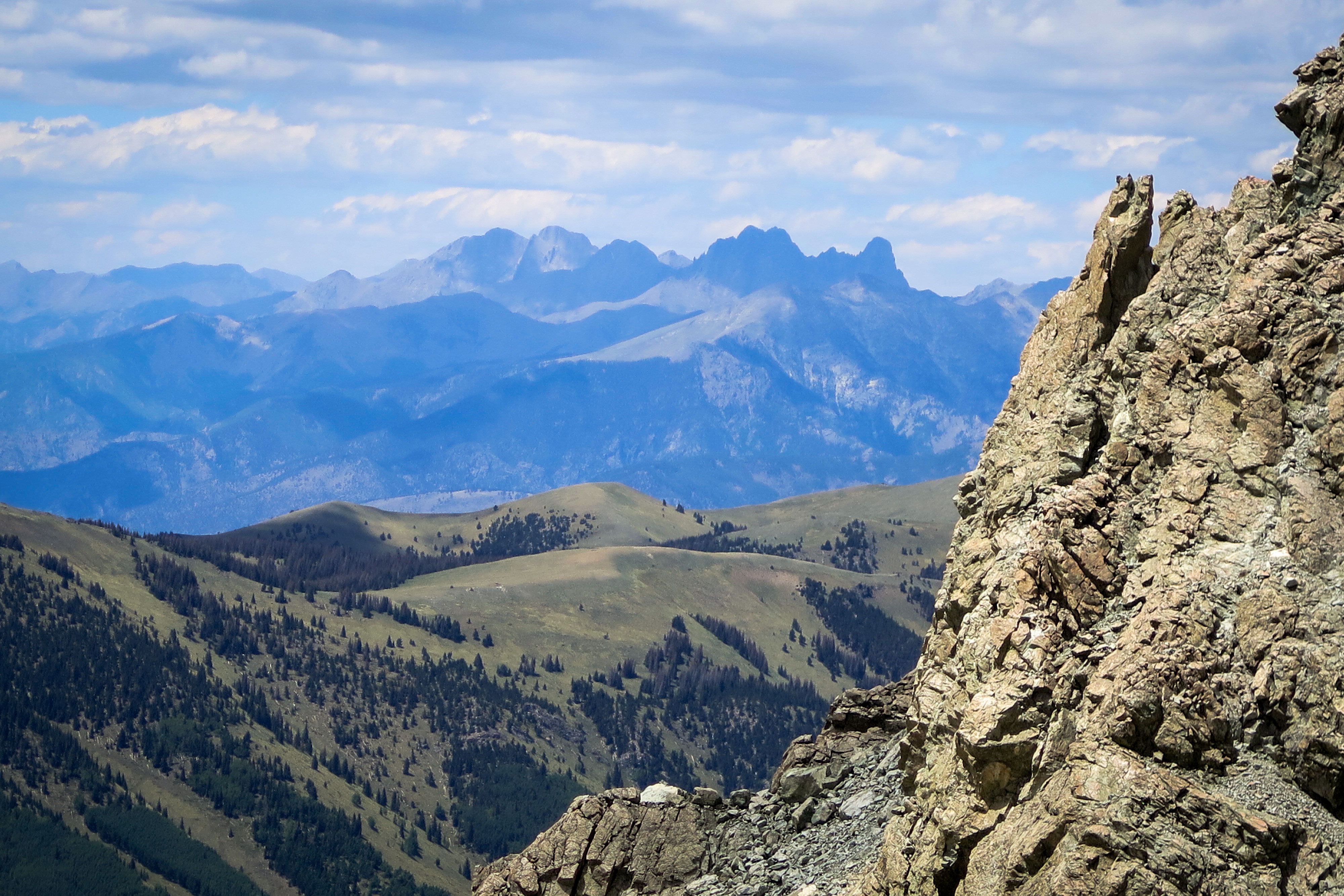 The Crestone group of peaks in the Sangre de Cristo, as seen from Mount Lindsey, includes some of the most difficult 14ersin Colorado.