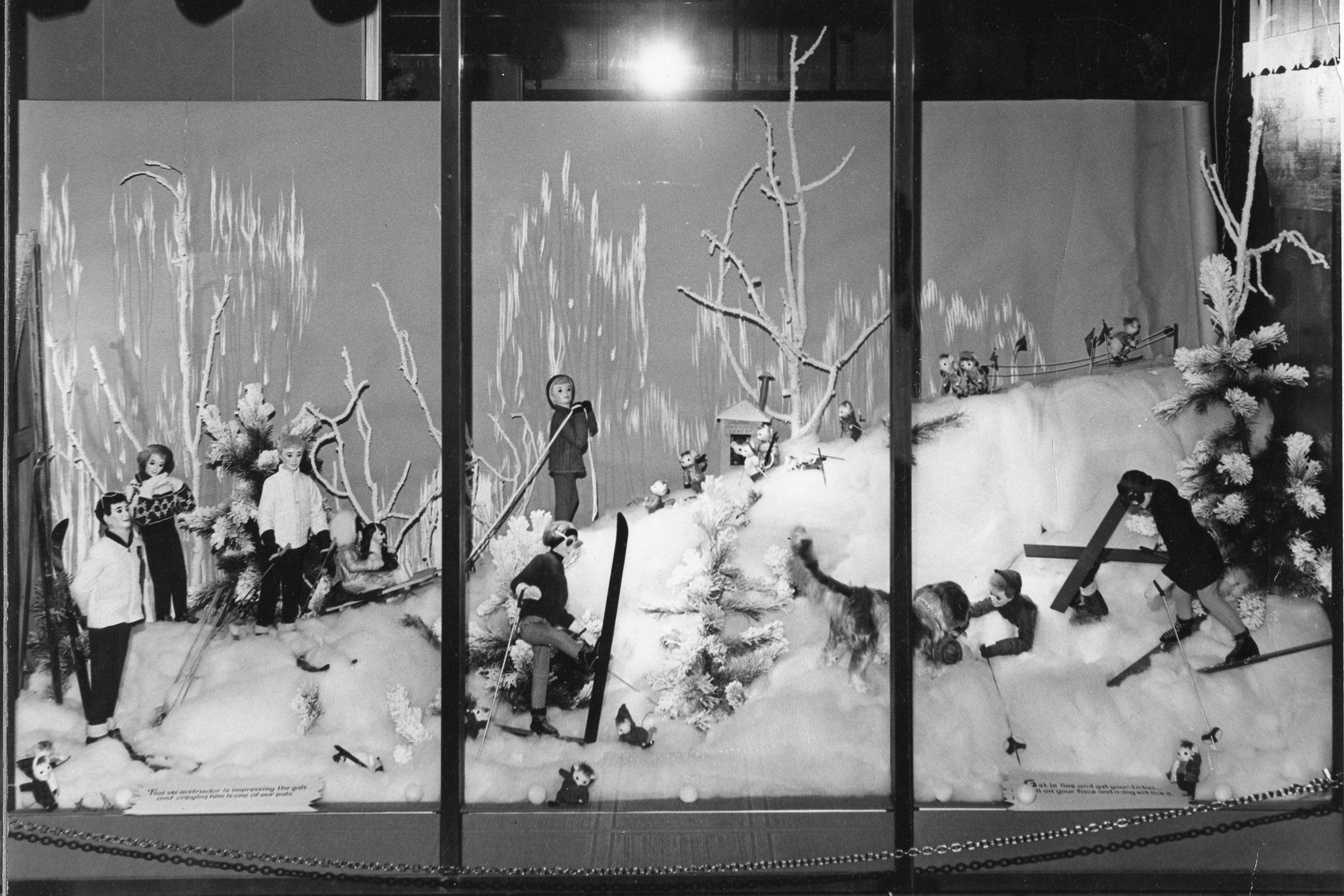 "A close-up of the 1964 ""Wonderful World of Winter"" holiday display at May D&F."