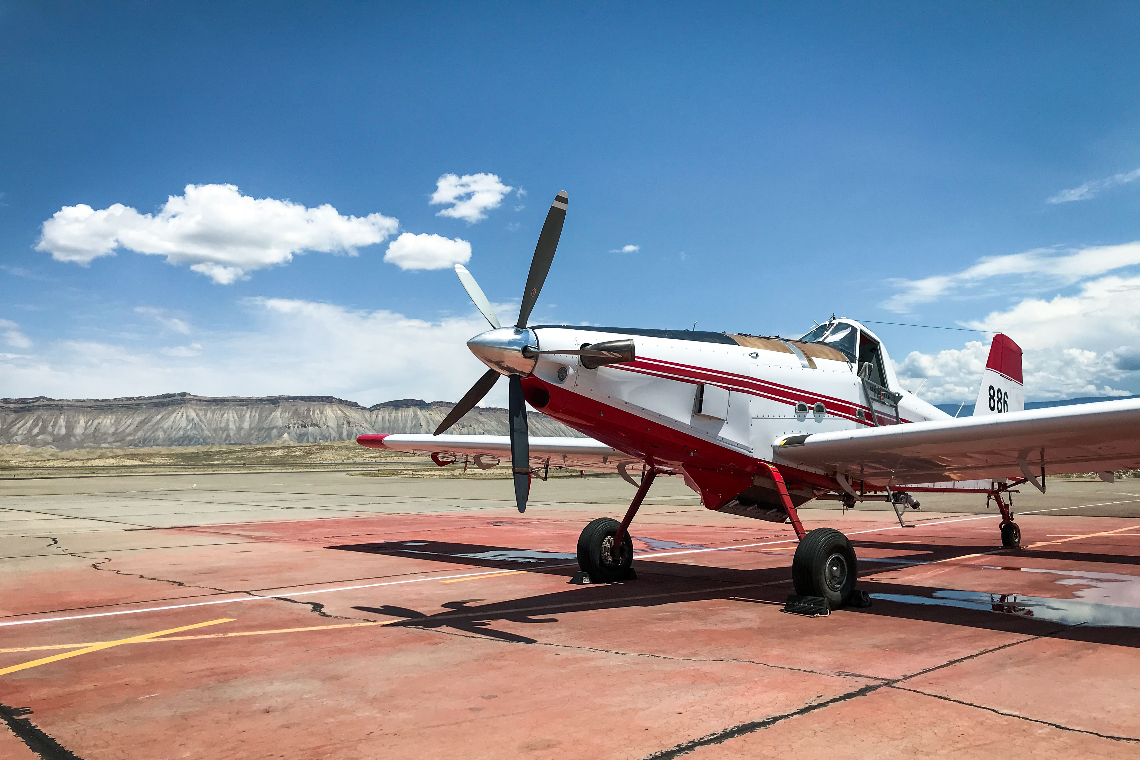 A single-engine air tanker currently stationed at the Upper Colorado River Interagency Fire Management Unit at the Grand Junction Regional Airport.