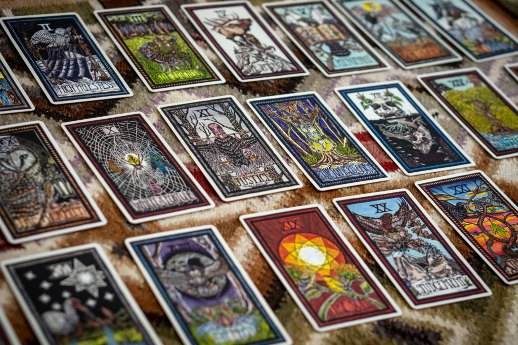 Emi Brady's deck of Tarot Cards features 78 hand-colored linocuts