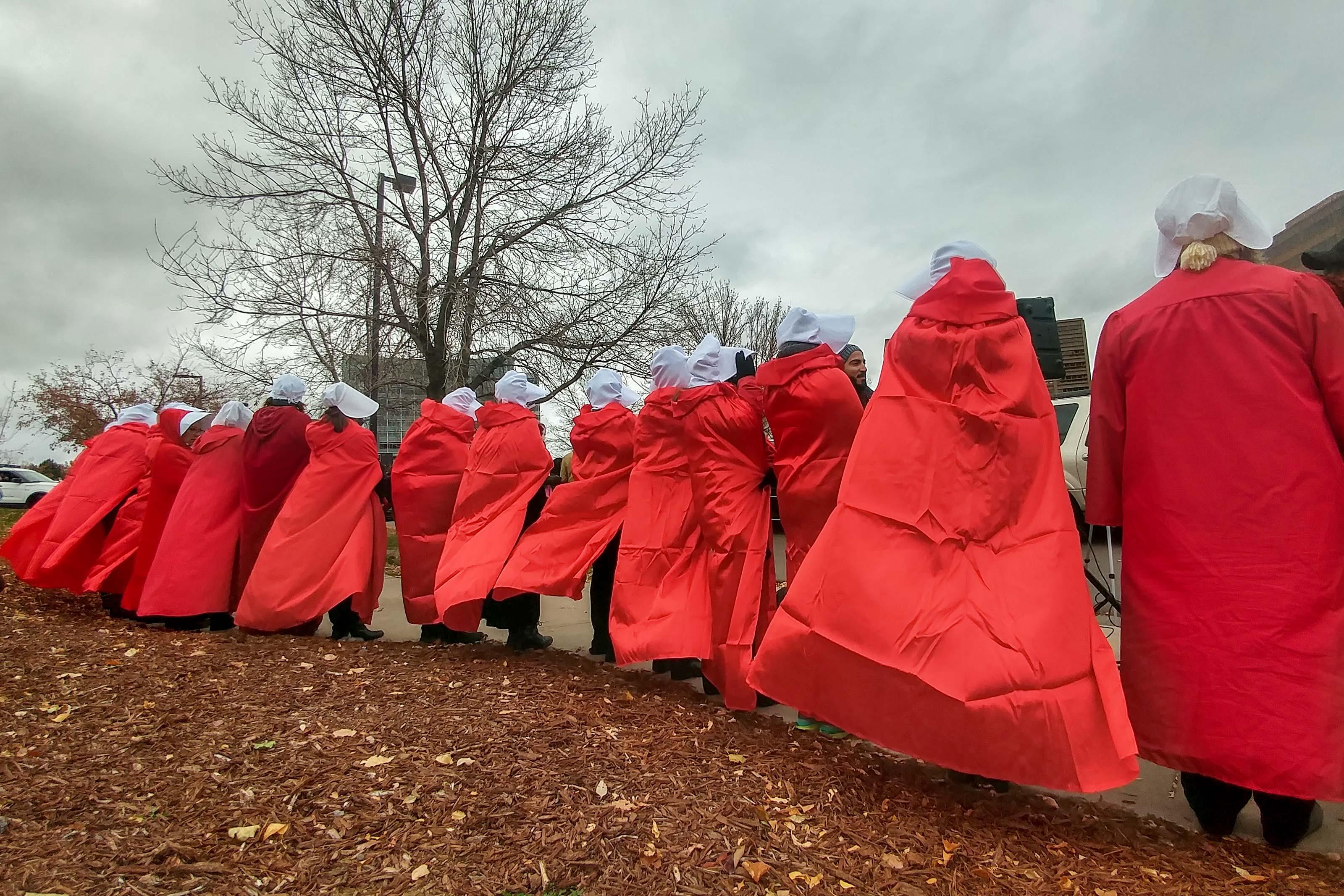 Photo: Mike Pence Colorado Visit 2 | Handmaid's Tale Protesters - XMcMahon
