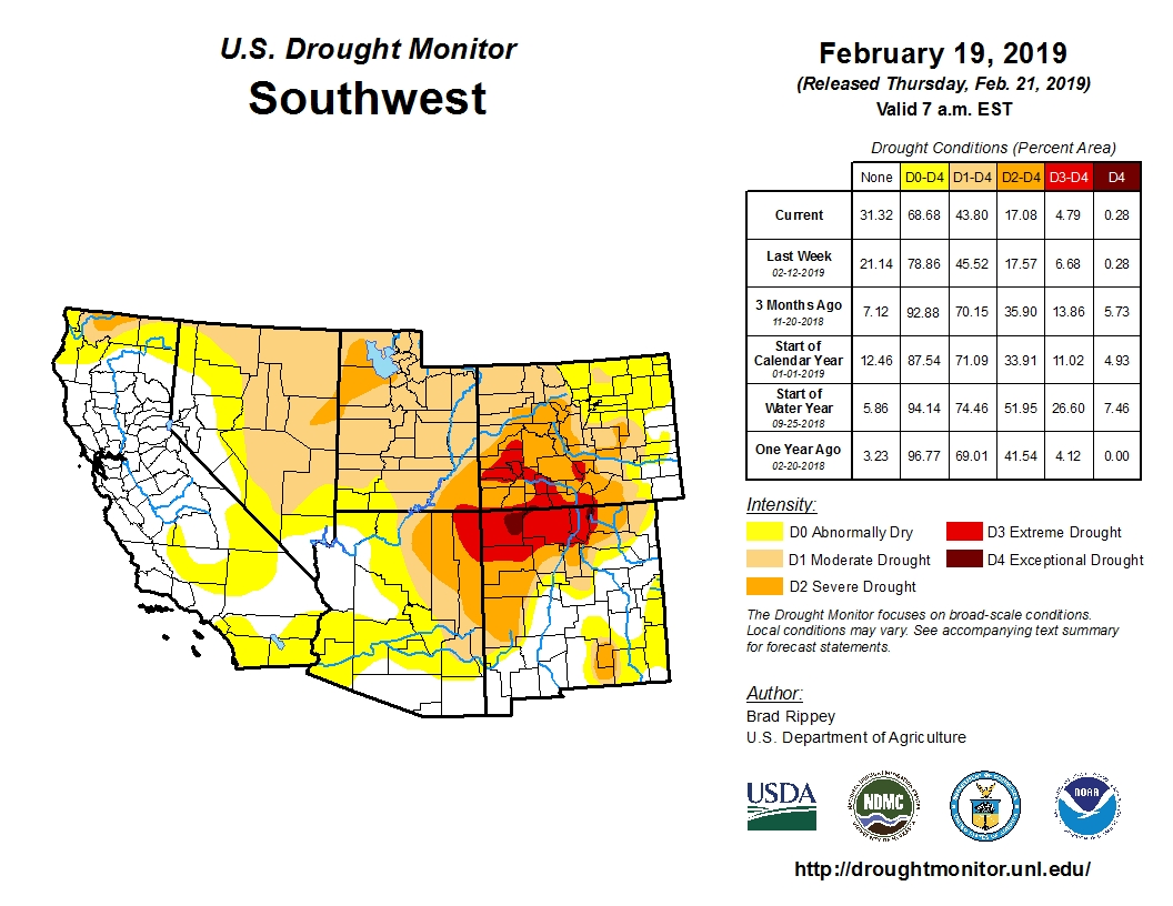 Photo: Drought Monitor Southwest Feb. 19, 2019