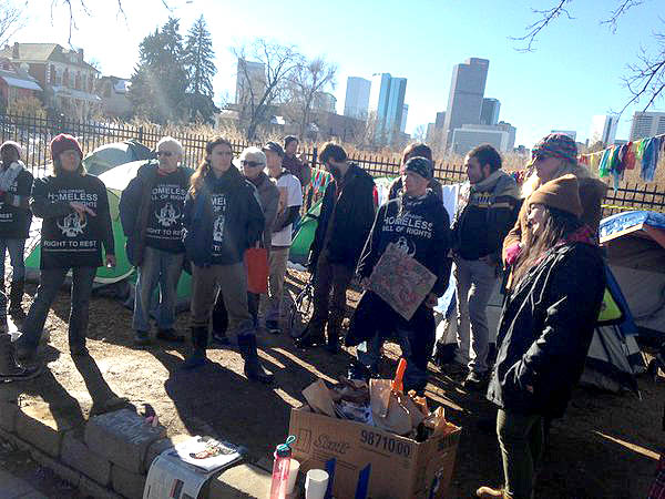 Photo: Denver Homeless Tiny Home Village Activists (SB)