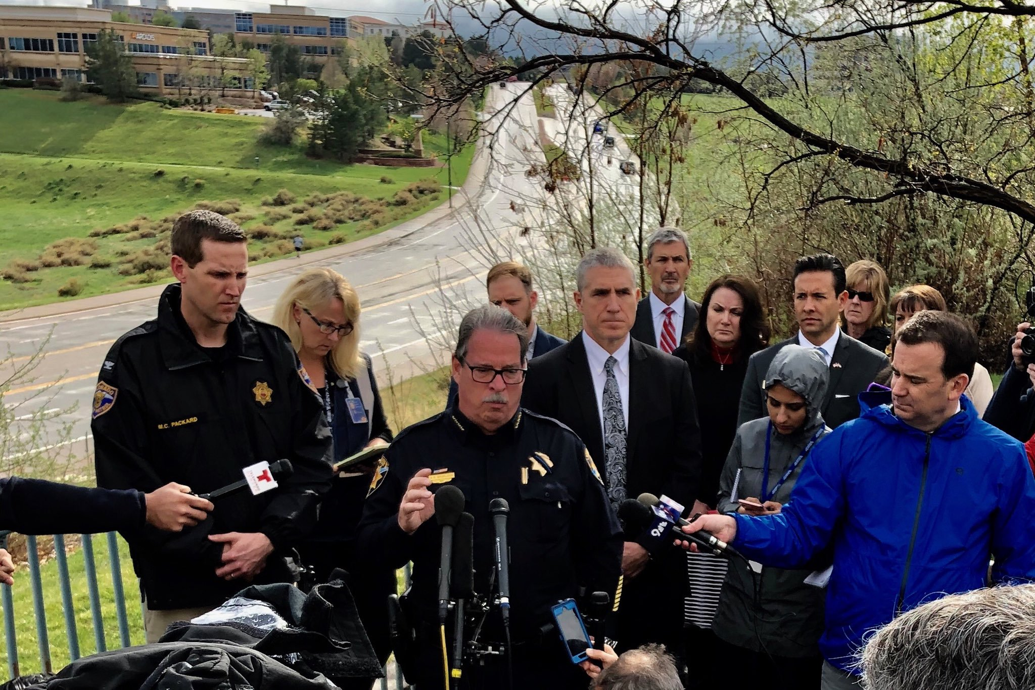 Photo: Douglas Country Sheriff Spurlock updates reporters on the STEM School shooting in Highlands Ranch
