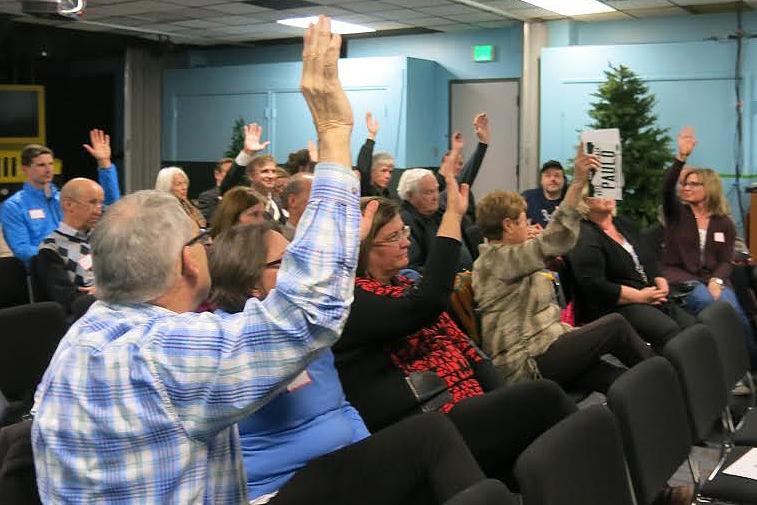 Photo: Colorado Caucus, GOP hands, Denver (JD)
