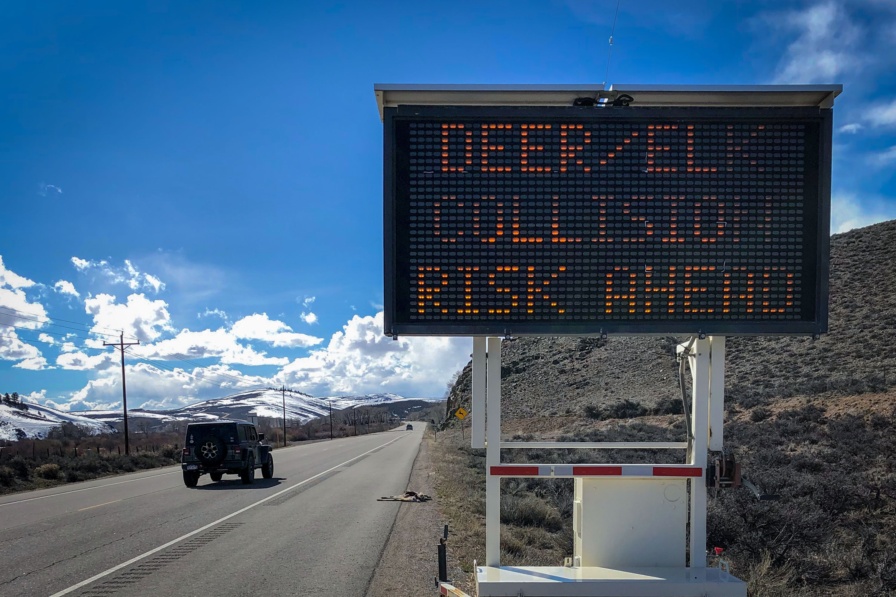 Photo: Colorado Roadkill 2 | Deer Warning Sign - CPW Courtesy