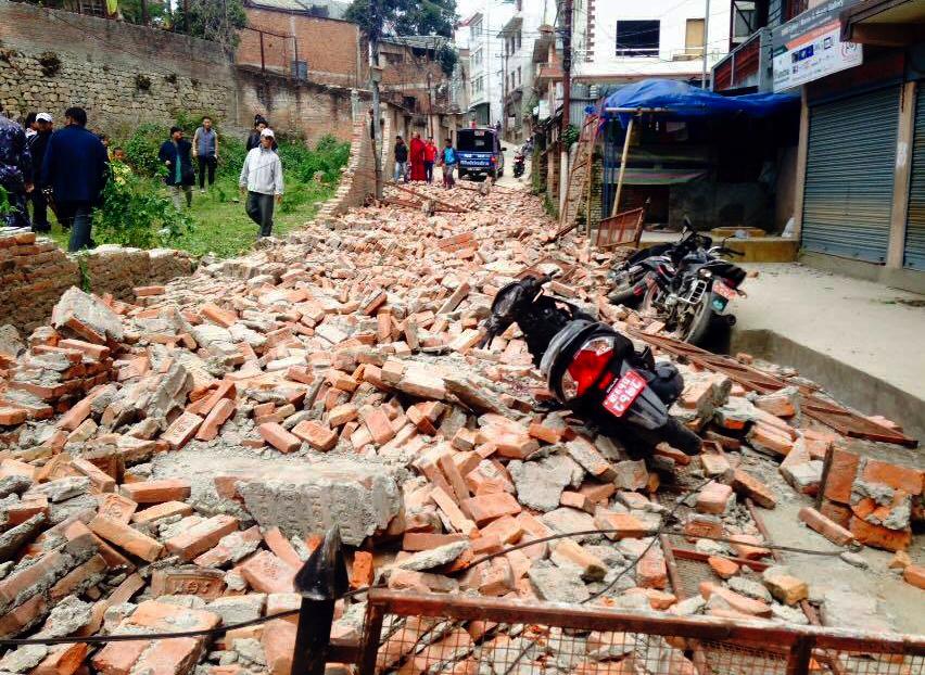 Photo: Kathmandu Destruction, Bricks In Street