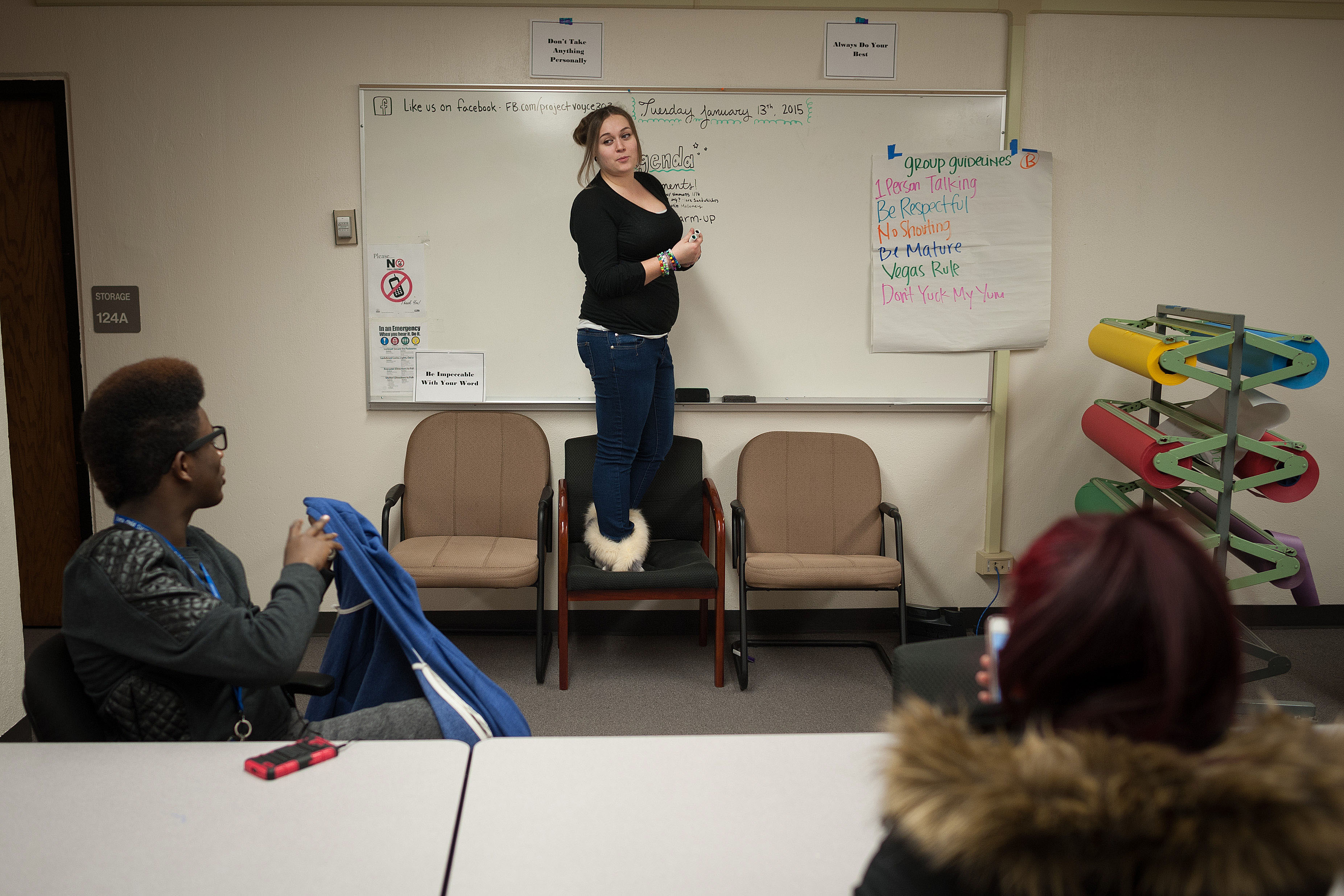 Photo: Destiny Carney teaching social justice