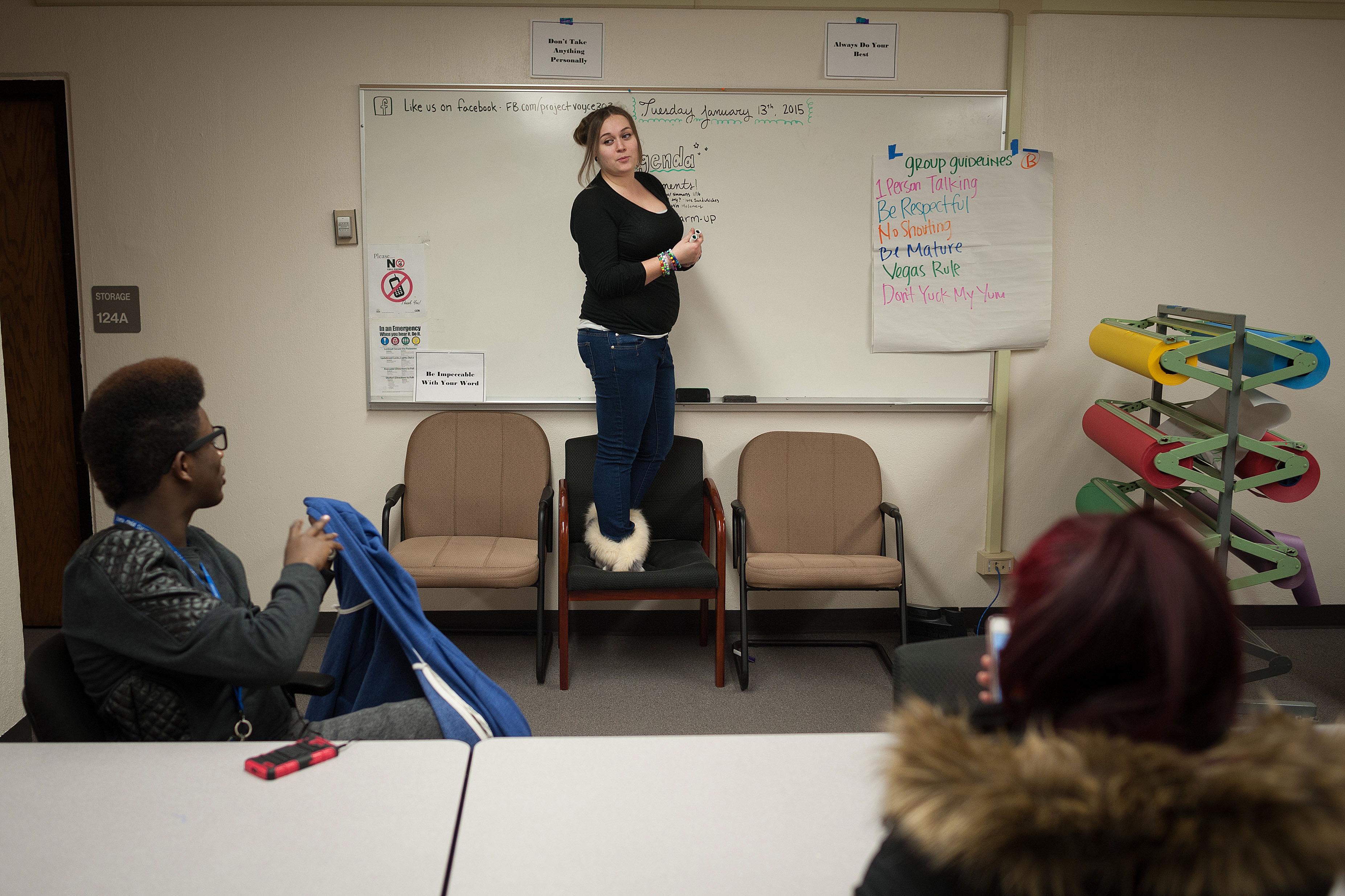 Photo: Destiny Carney teaching social justice