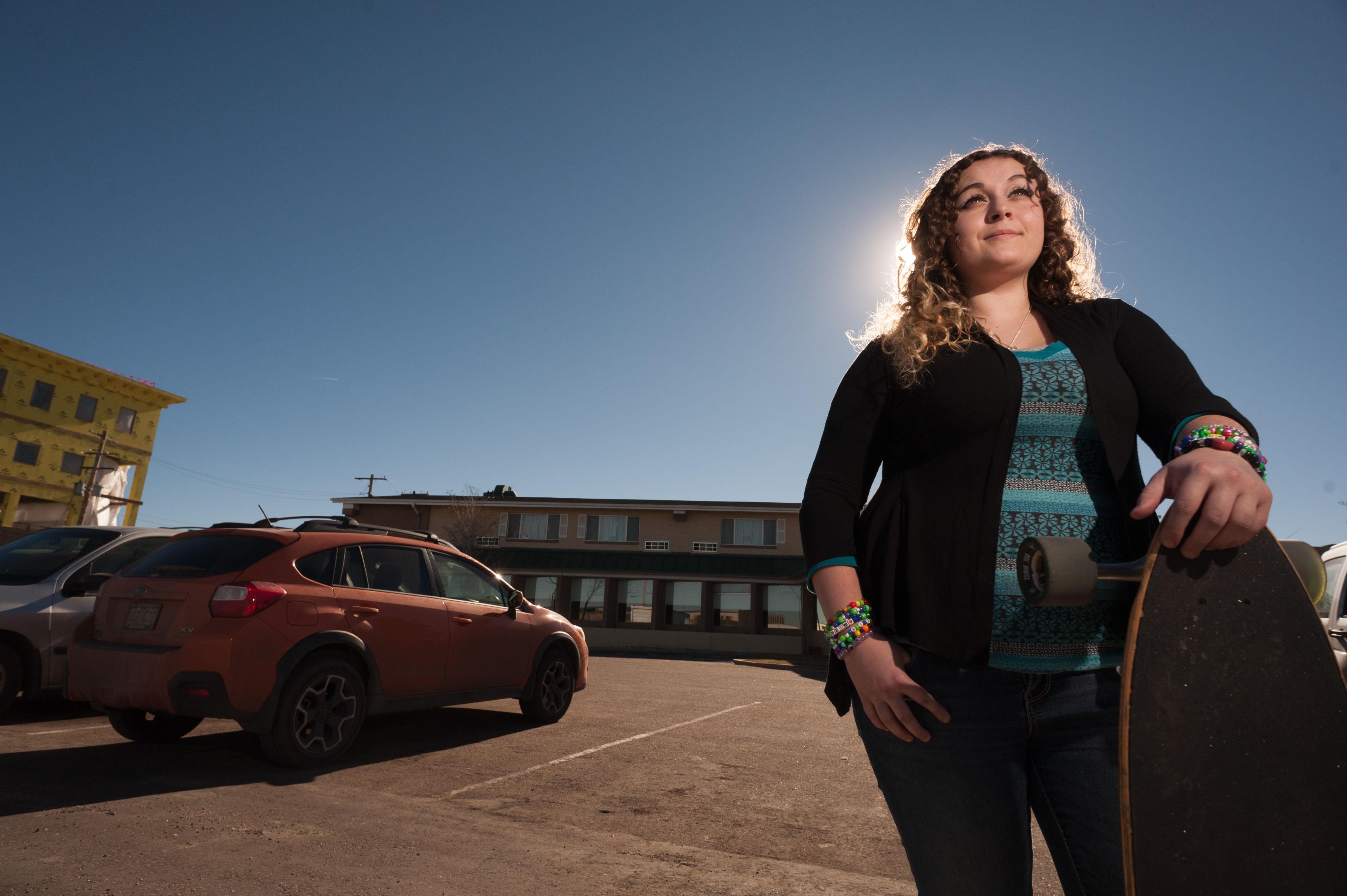 Photo: Destiny Carney with her skateboard