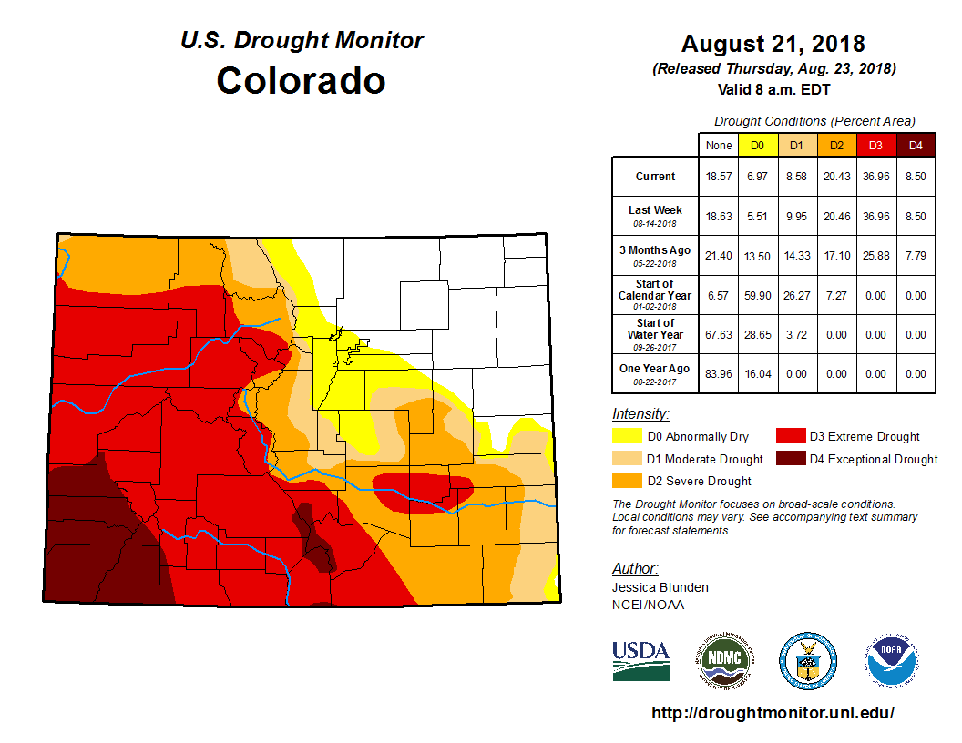 Photo: Drought Monitor Colorado August 23, 2018