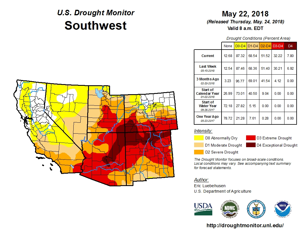 Map: Southwest Drought Monitor | May 22, 2018