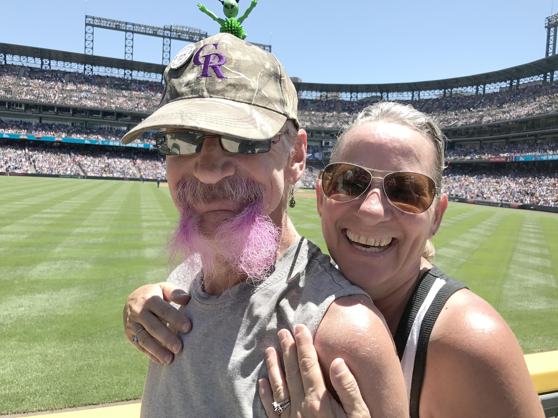 Photo: Captain Earthman, aka Brent Doeden, with his wife Becky Scharfenberg