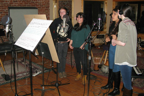 Photo: Failure Lab students record in studio 3-2