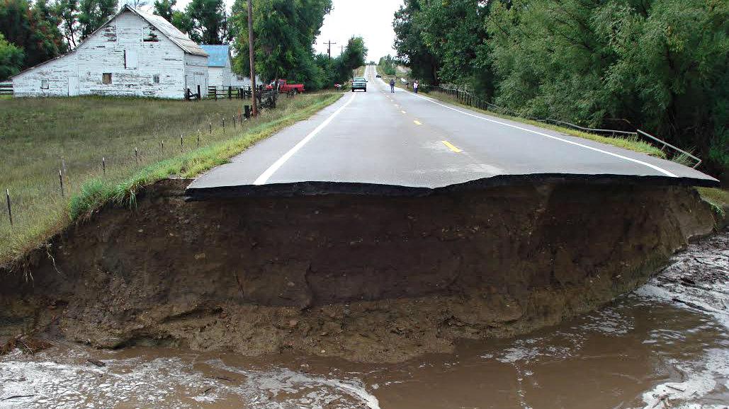 Photo: Flood devastation to County Road in Berthoud