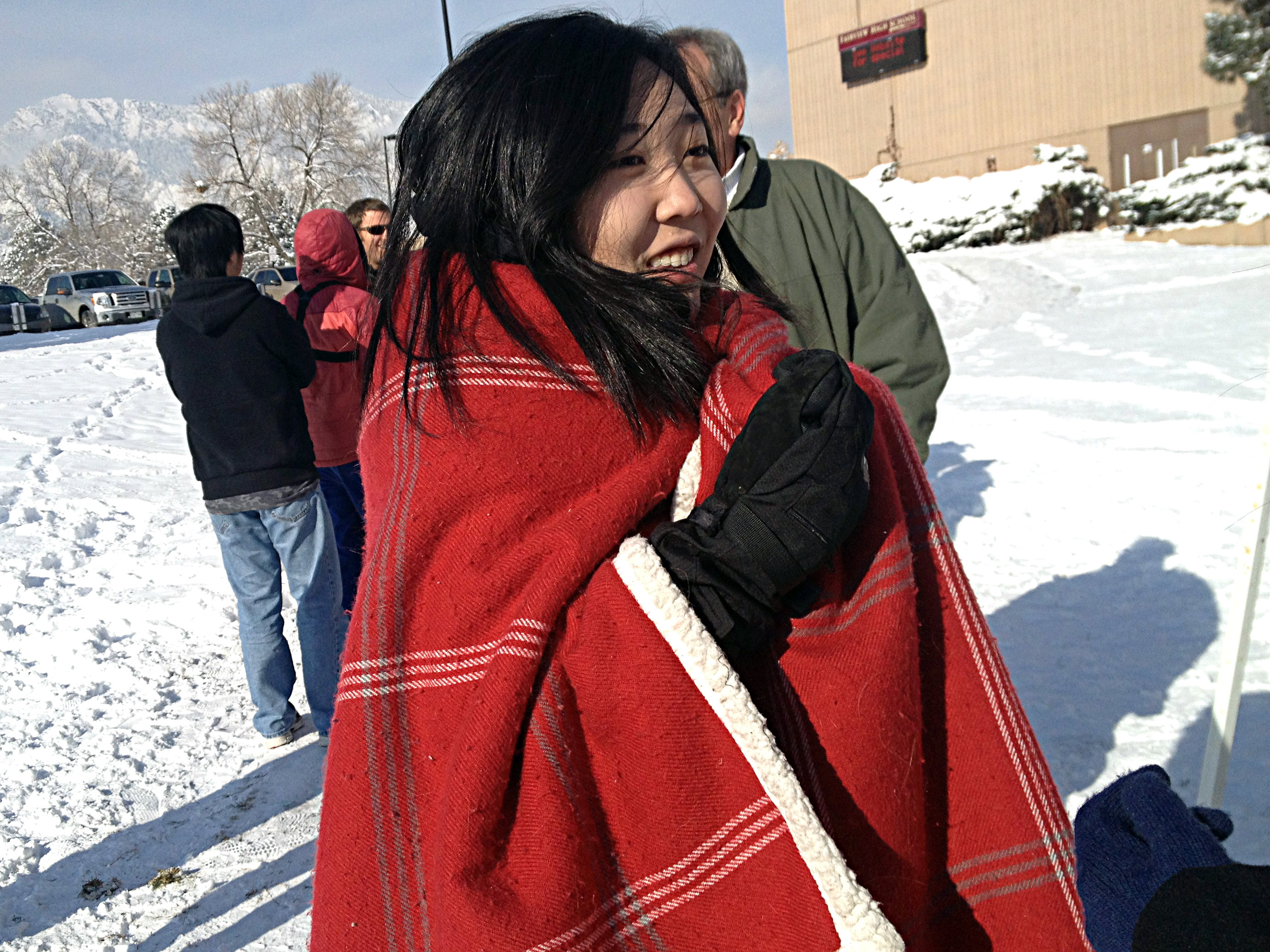 Photo: Boulder protest girl in blanket