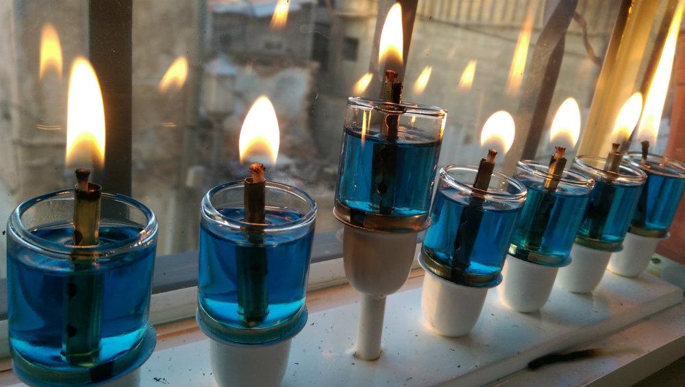 PHOTO: Hanukkah Menorah with blue oil