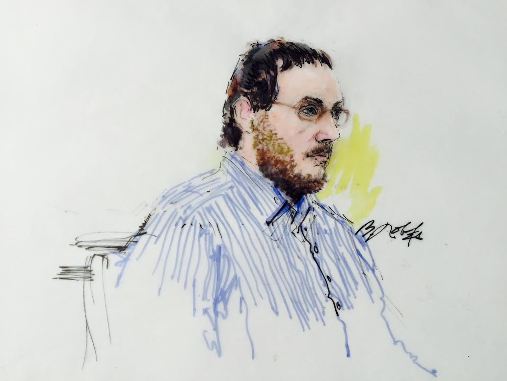 Photo: James Holmes sketch, facing right, Aurora theater shooting trial