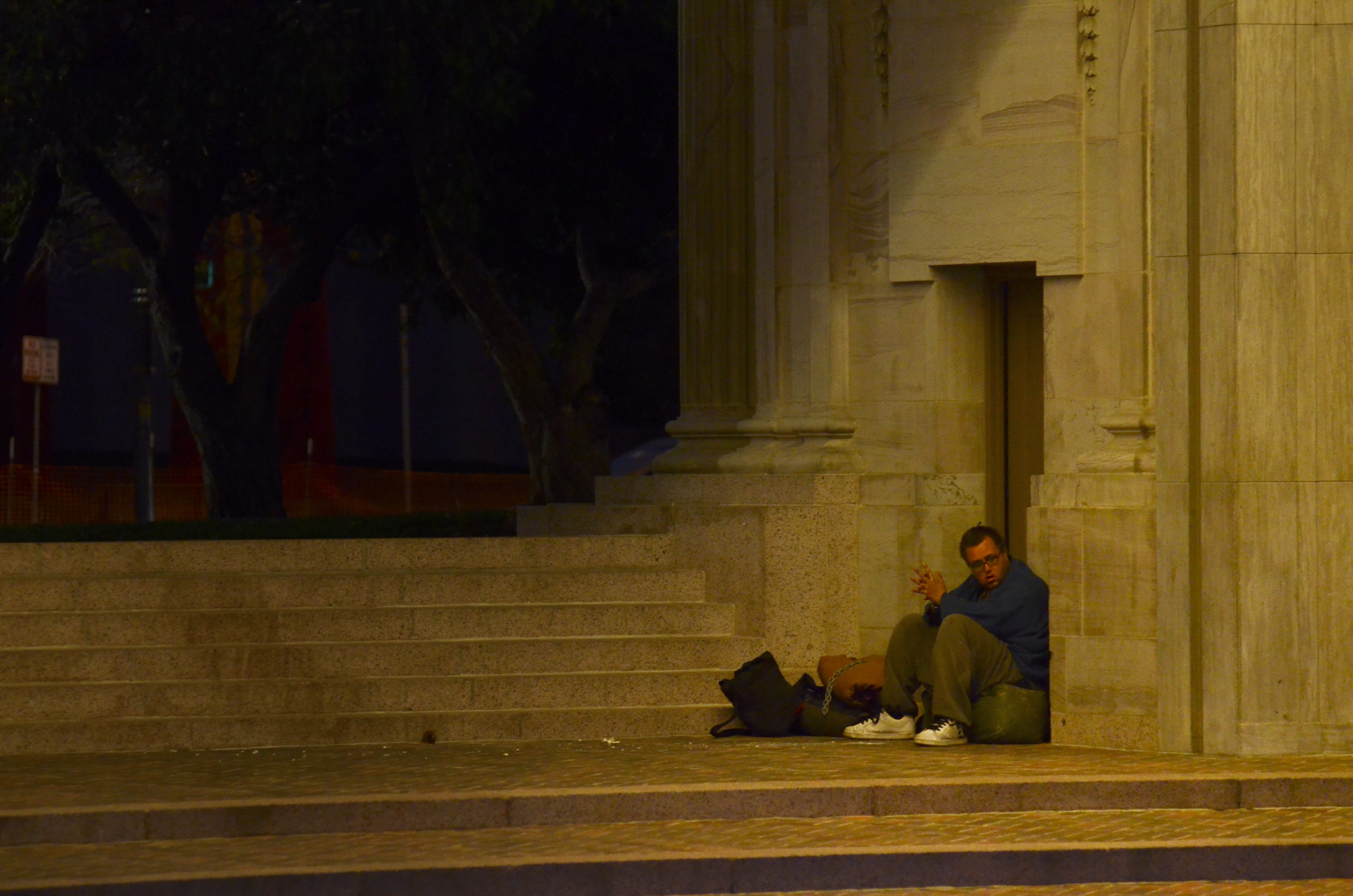 Photo: Homeless man in Civic Center Park
