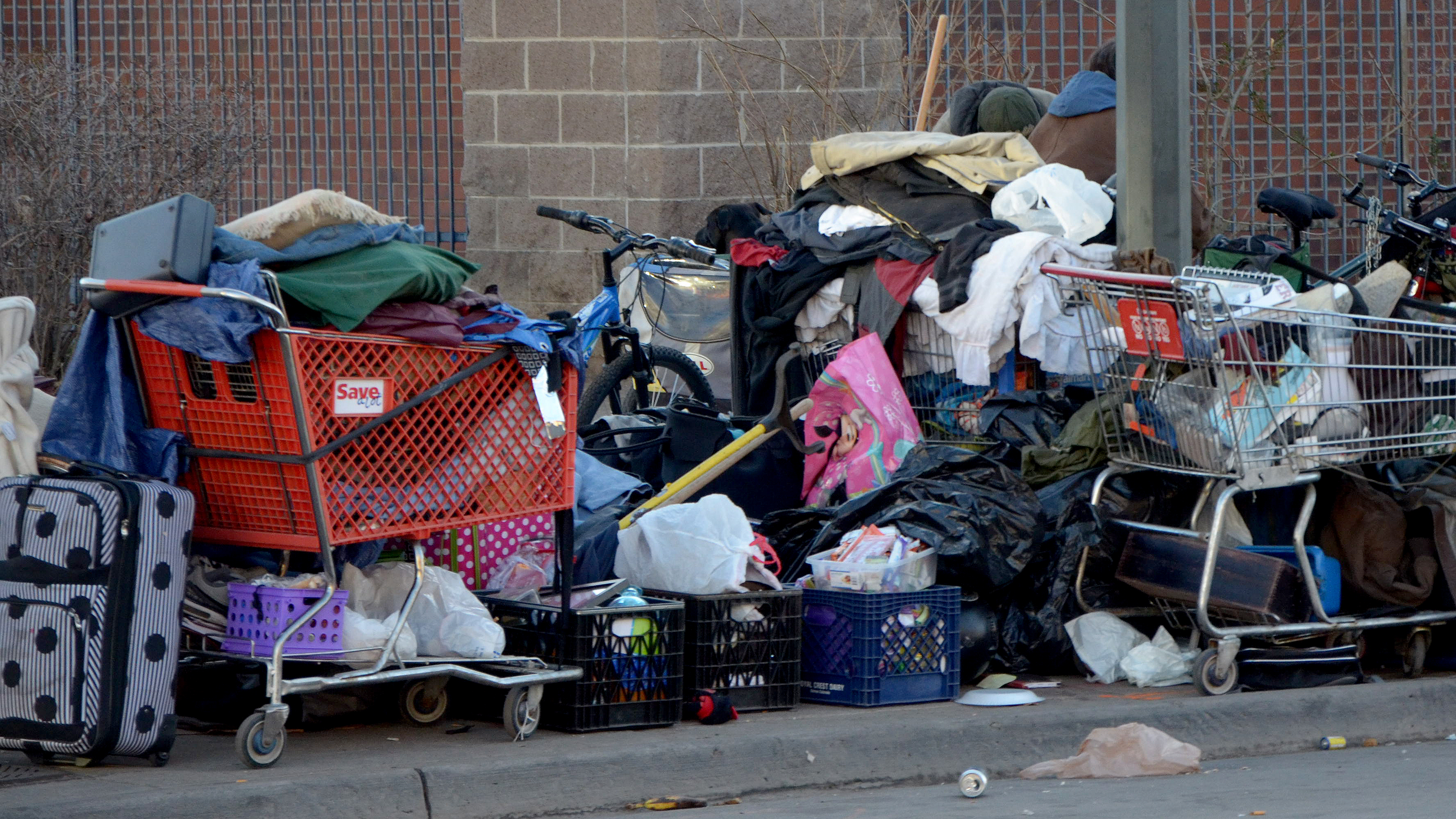 Photo: Homeless, Denver, Piles Of Belongings Outside Catholic Charities