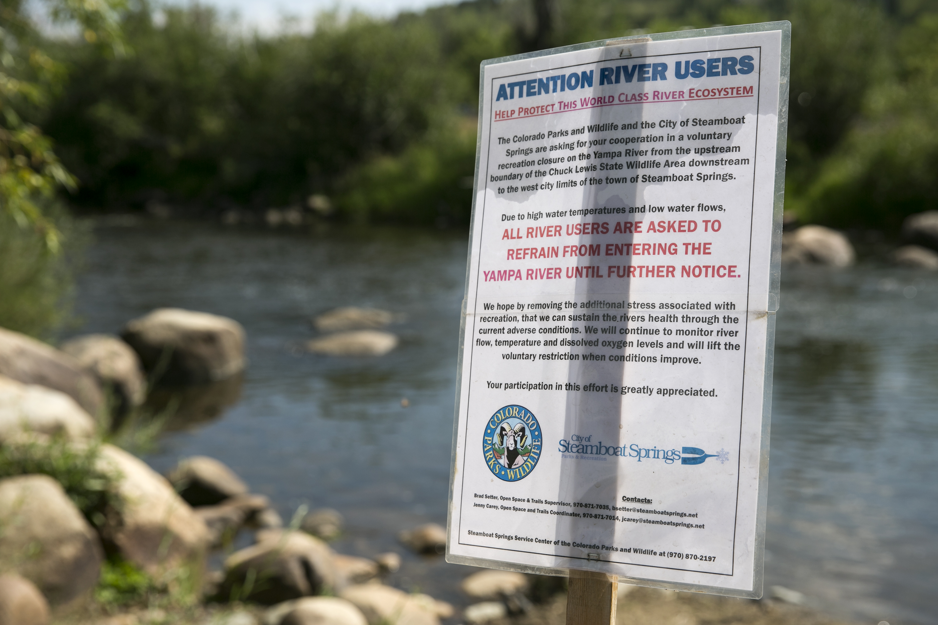 Photo: Hot Dry Rivers 2 Yampa Closure Sign In Steamboat