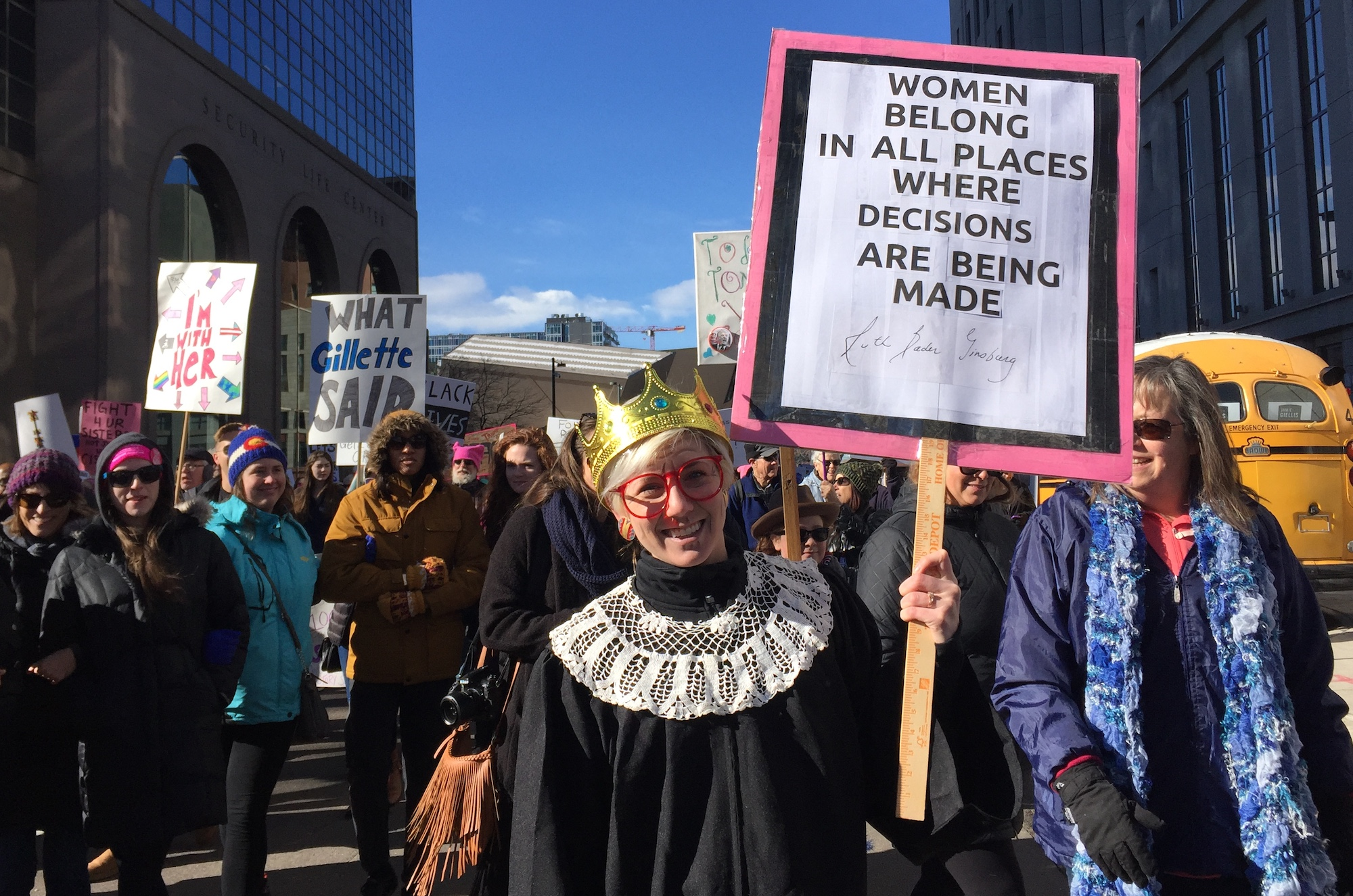 Photo: Women's March 2019 3   Laurie Finnegan poses in her Ruth Bader Ginsberg outfit -- Natalia V. Navarro