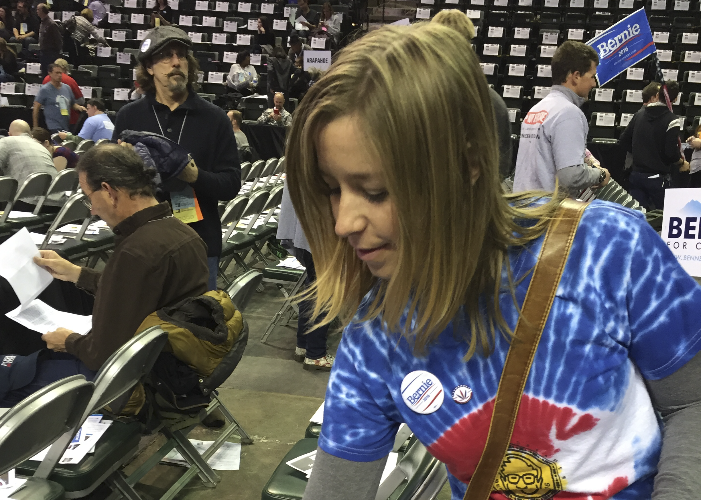 Photo: Colorado Dem Convention Bernie Supporter Hands Flyers